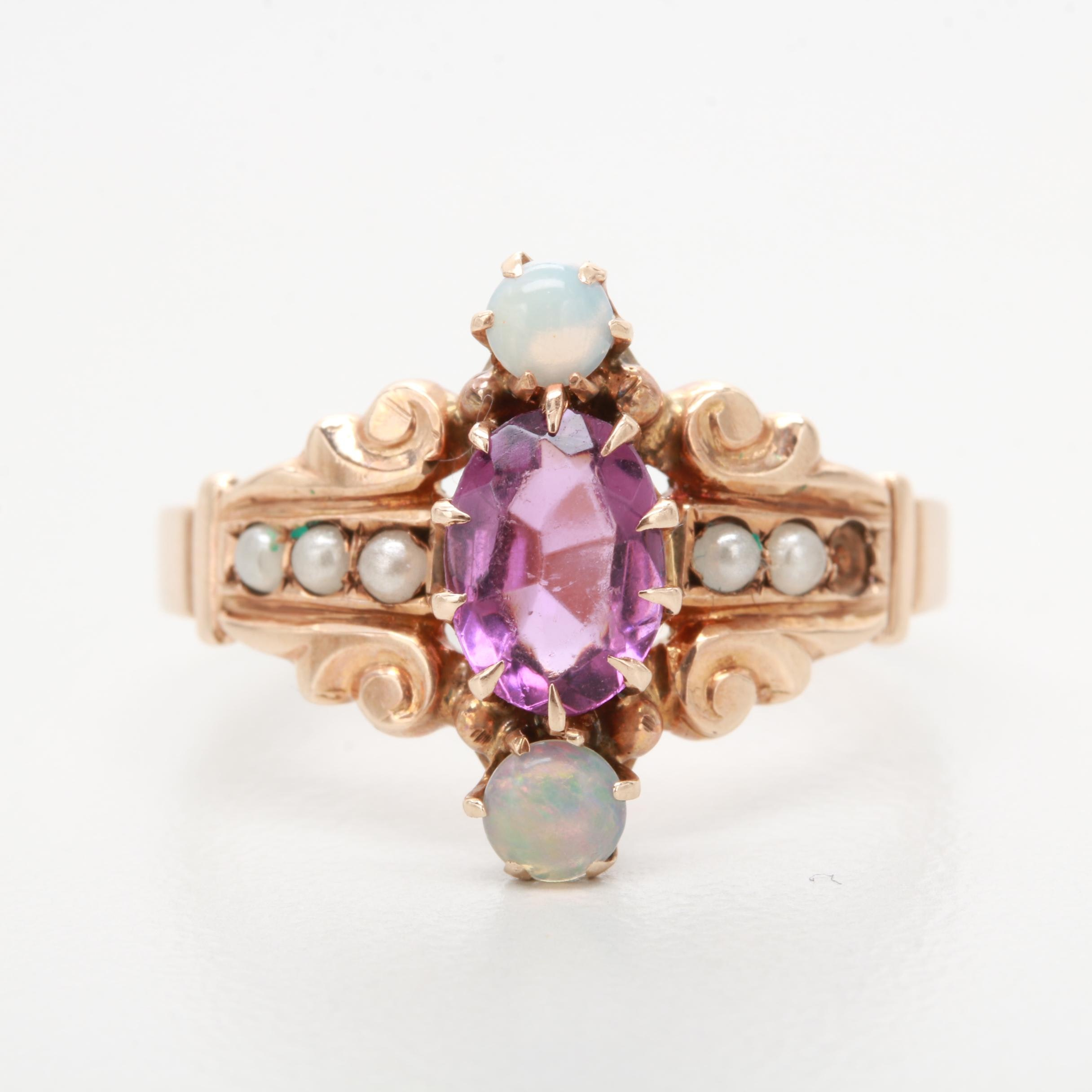 Early Victorian 10K Rose Gold Glass, Opal, and Imitation Pearl Ring