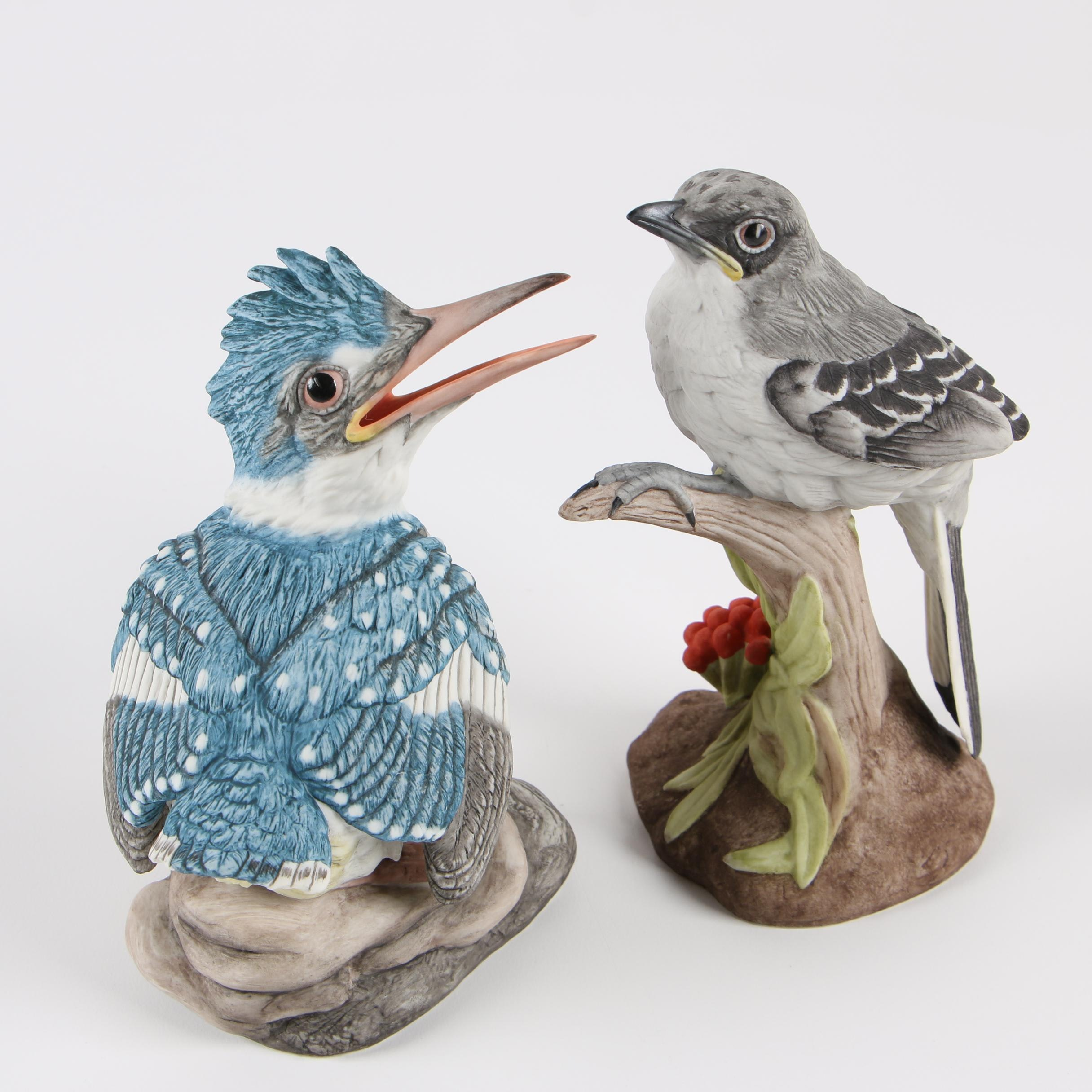 "Boehm ""Fledgling Kingfisher"" and ""Baby Mockingbird"" Porcelain Figurines"