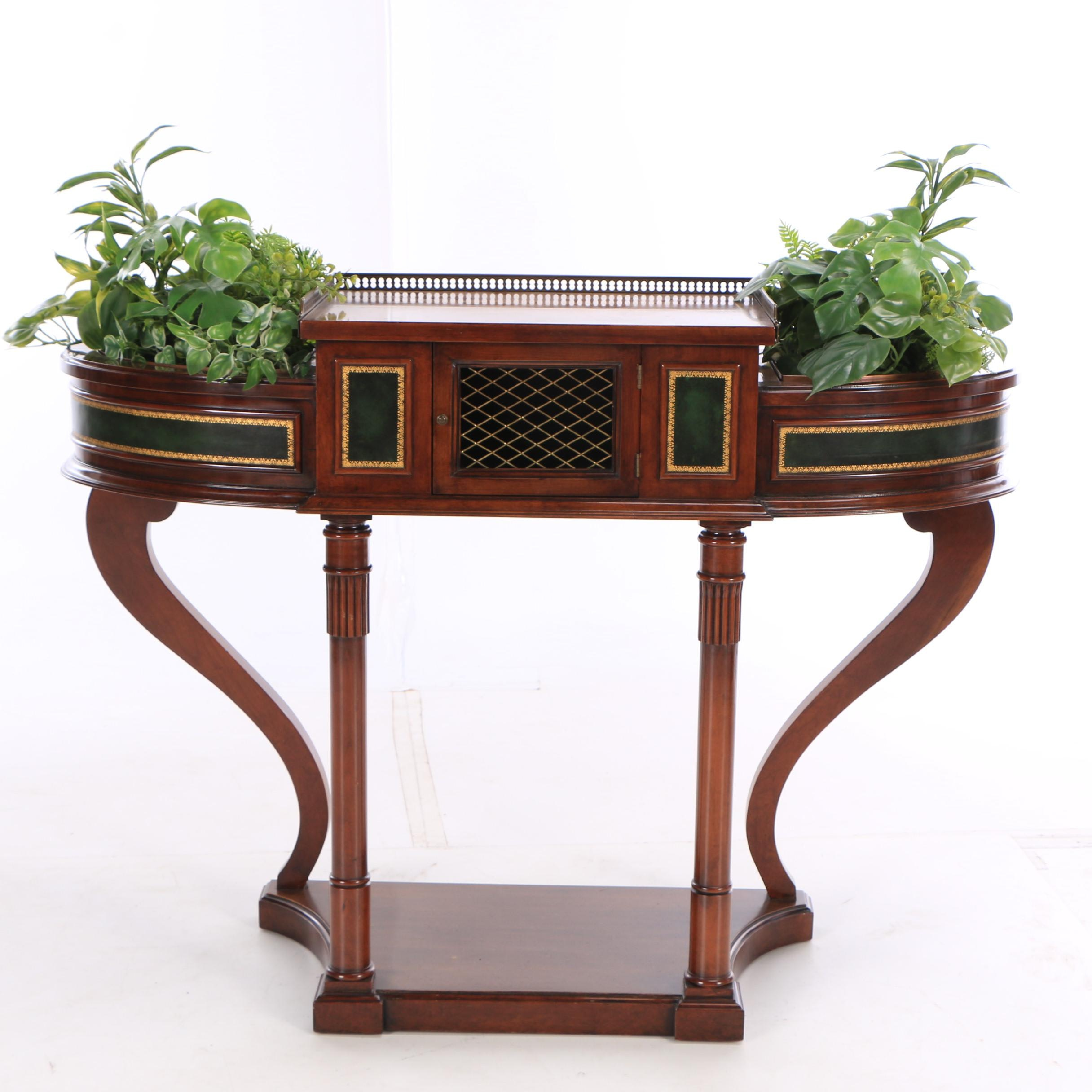 Late Victorian Style Cherry Console Table with Faux Plants, Late 20th Century