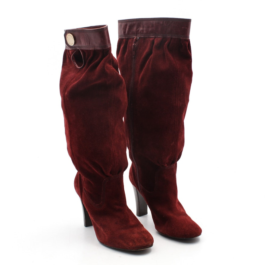 ae11d2988ee MICHAEL Michael Kors Crimson Suede Tall Boots with Stacked Heels   EBTH