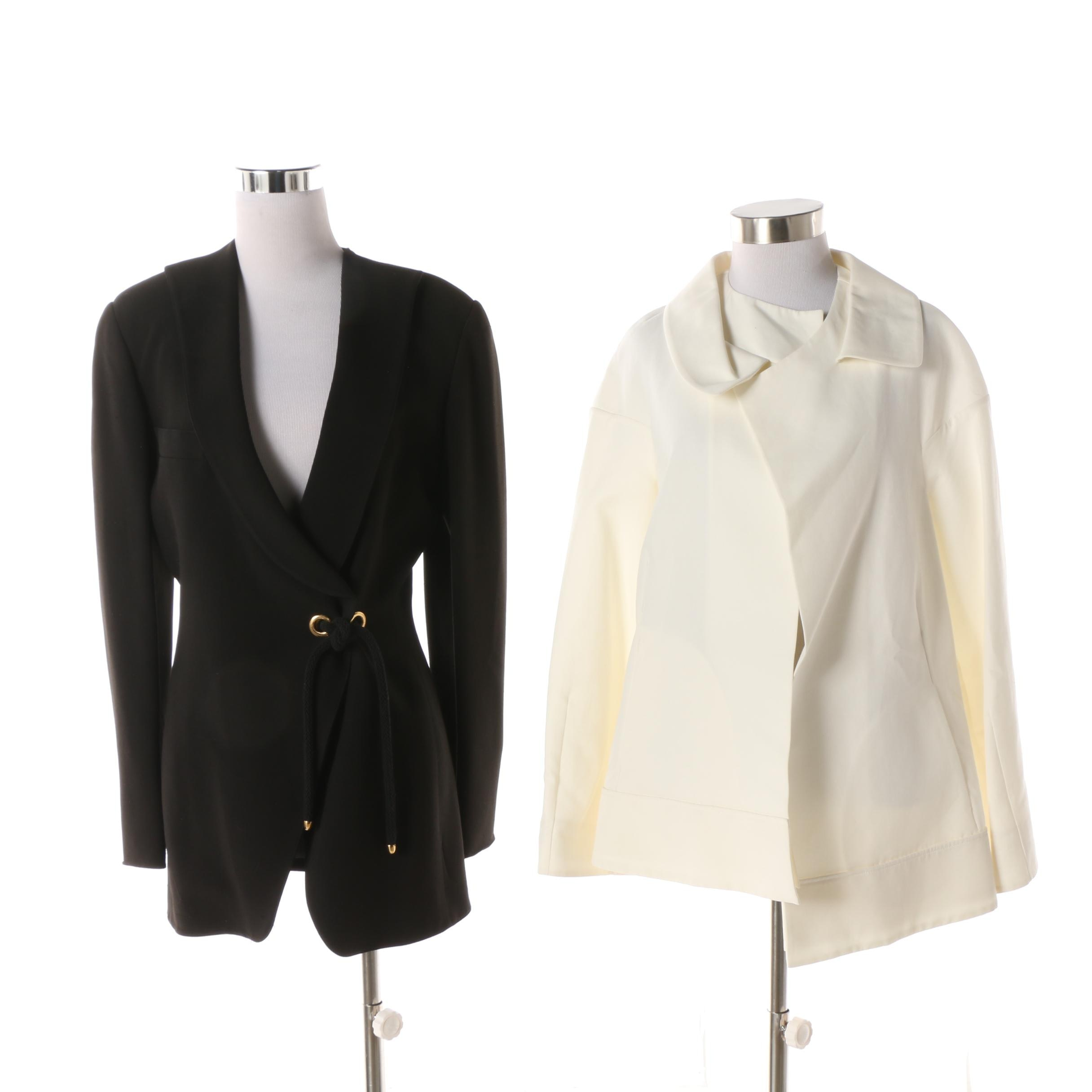 Women's Vintage Marni White Cotton Jacket and Claude Montana Black Wool Jacket