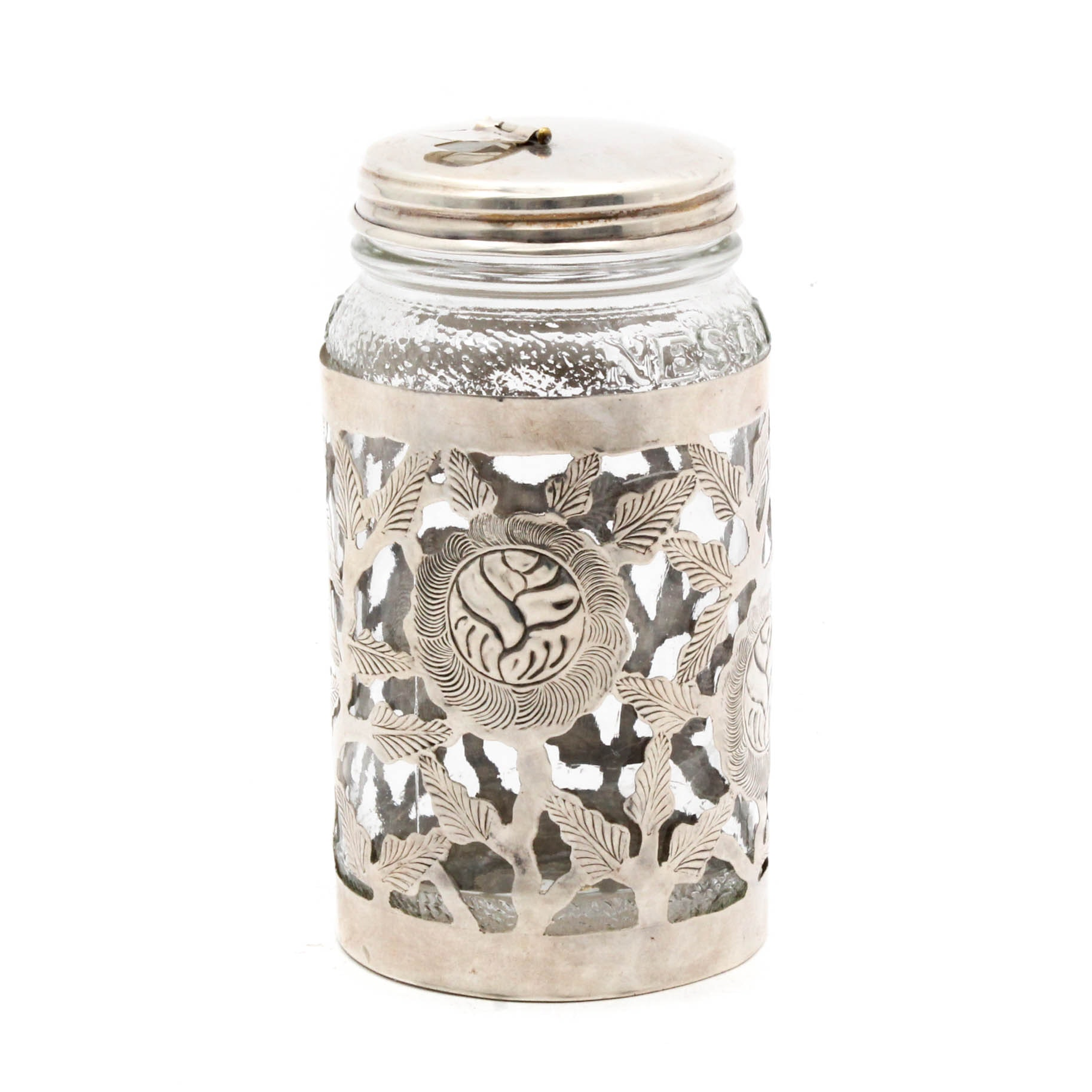 Sterling Silver Pierced and Etched Jar Cover