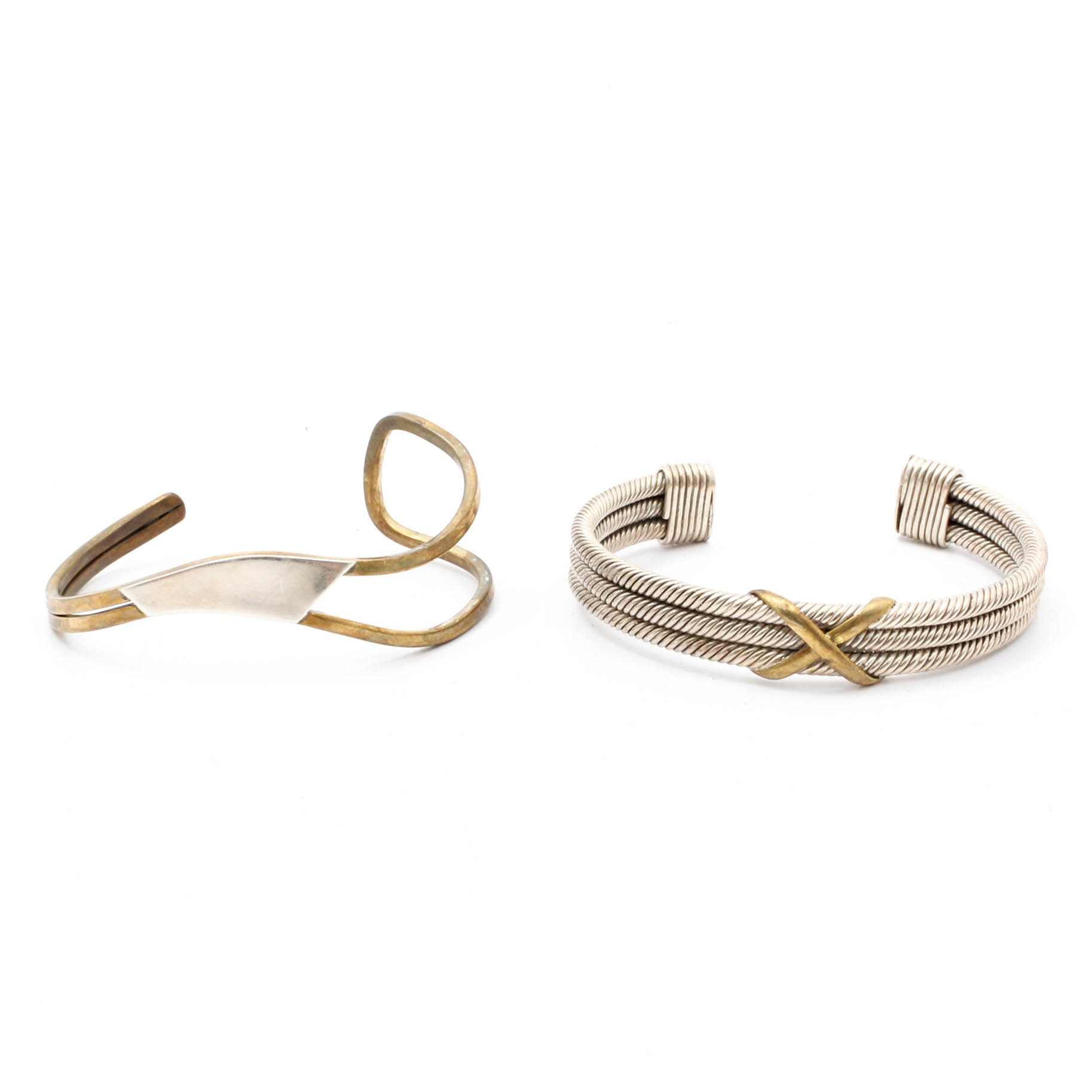 Sterling Silver and Brass Cuffs
