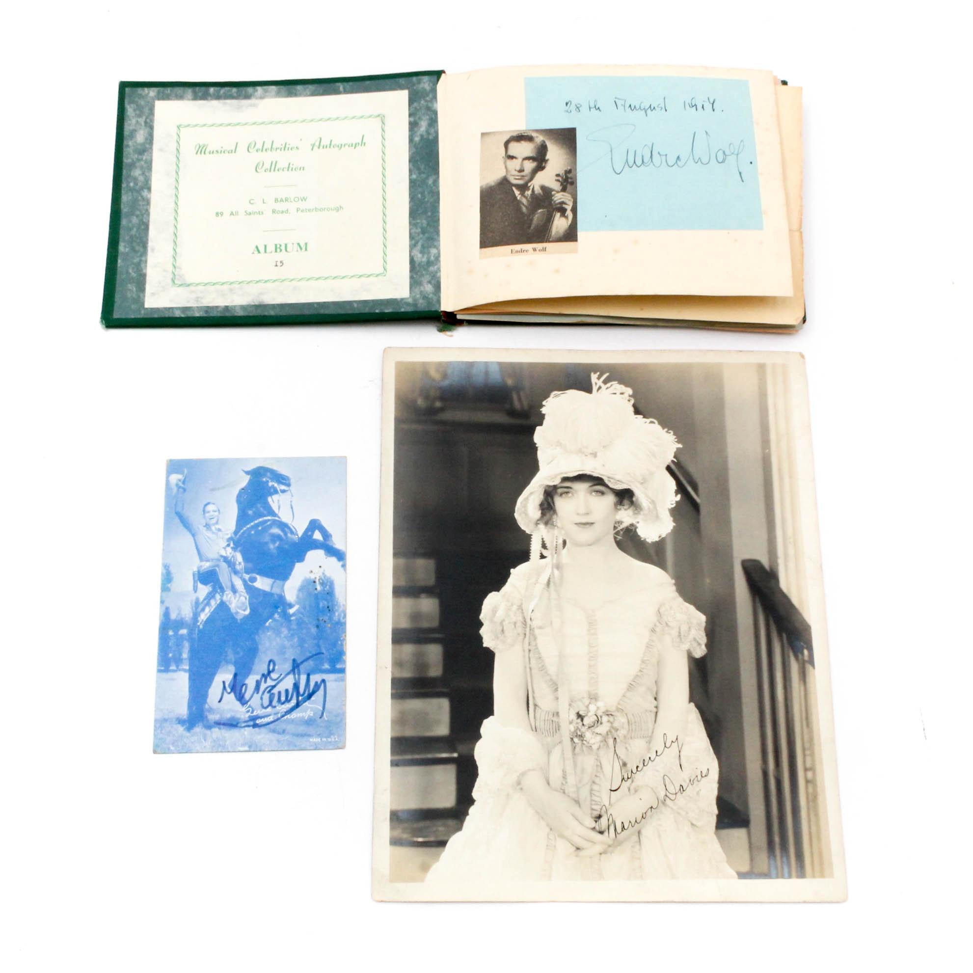 Vintage Entertainment Autographs Featuring Marion Davies, Gene Autry
