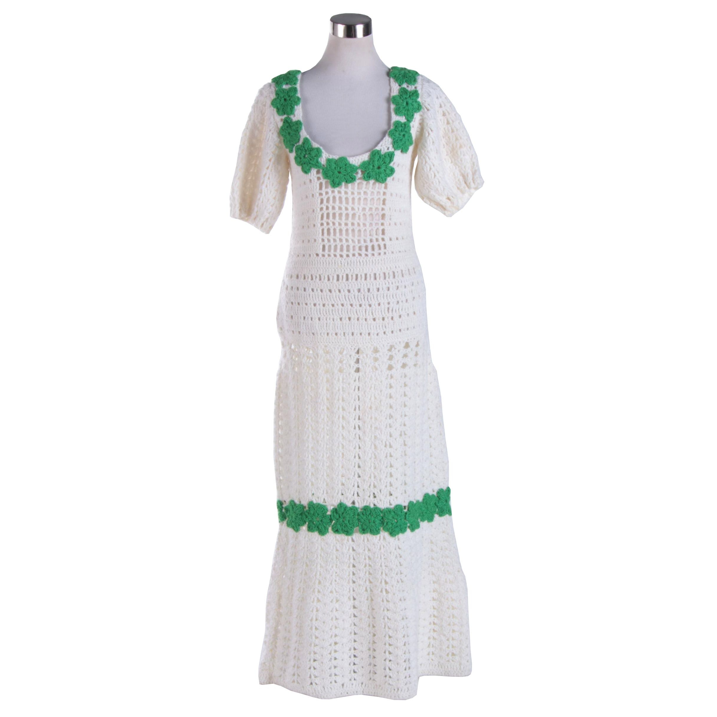 1960s Vintage Hand Crocheted Maxi Dress