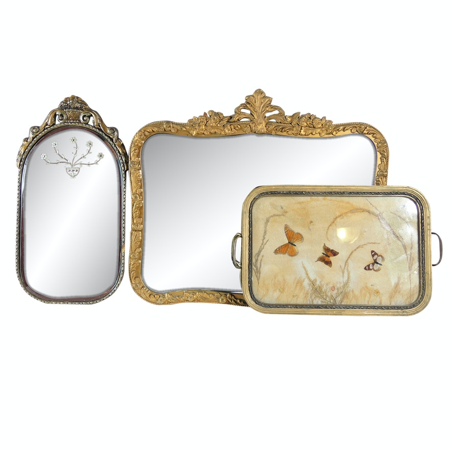 Vintage Gold Toned Wall Mirrors and Butterfly Tray