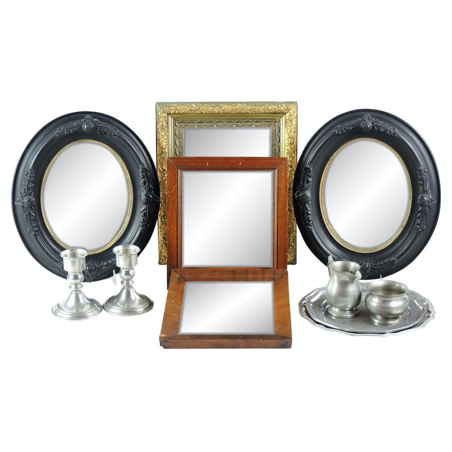 Wall Accent Mirrors and Pewter Serveware