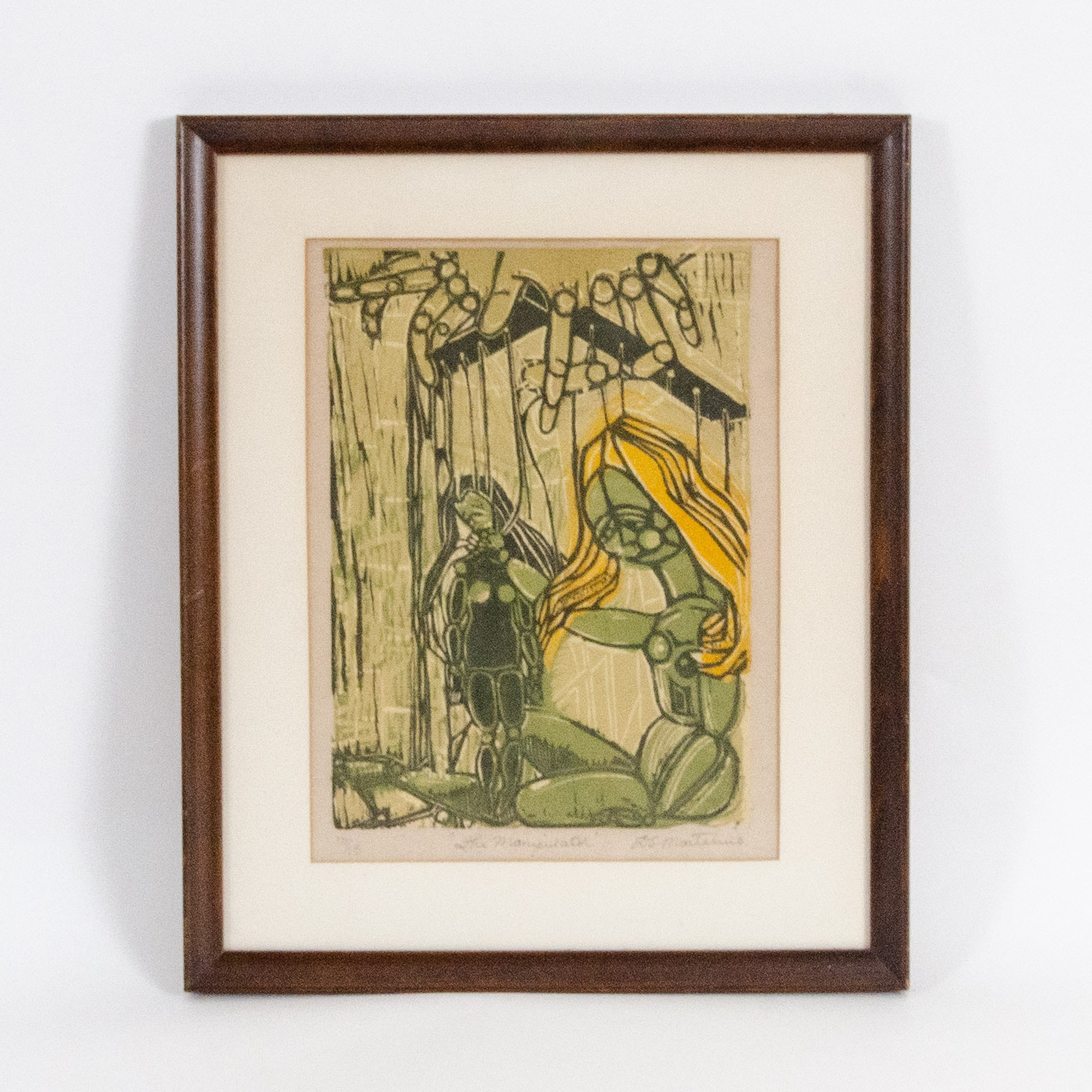 "D. S. Marteluio Colored Woodblock Print ""The Manipulator"""
