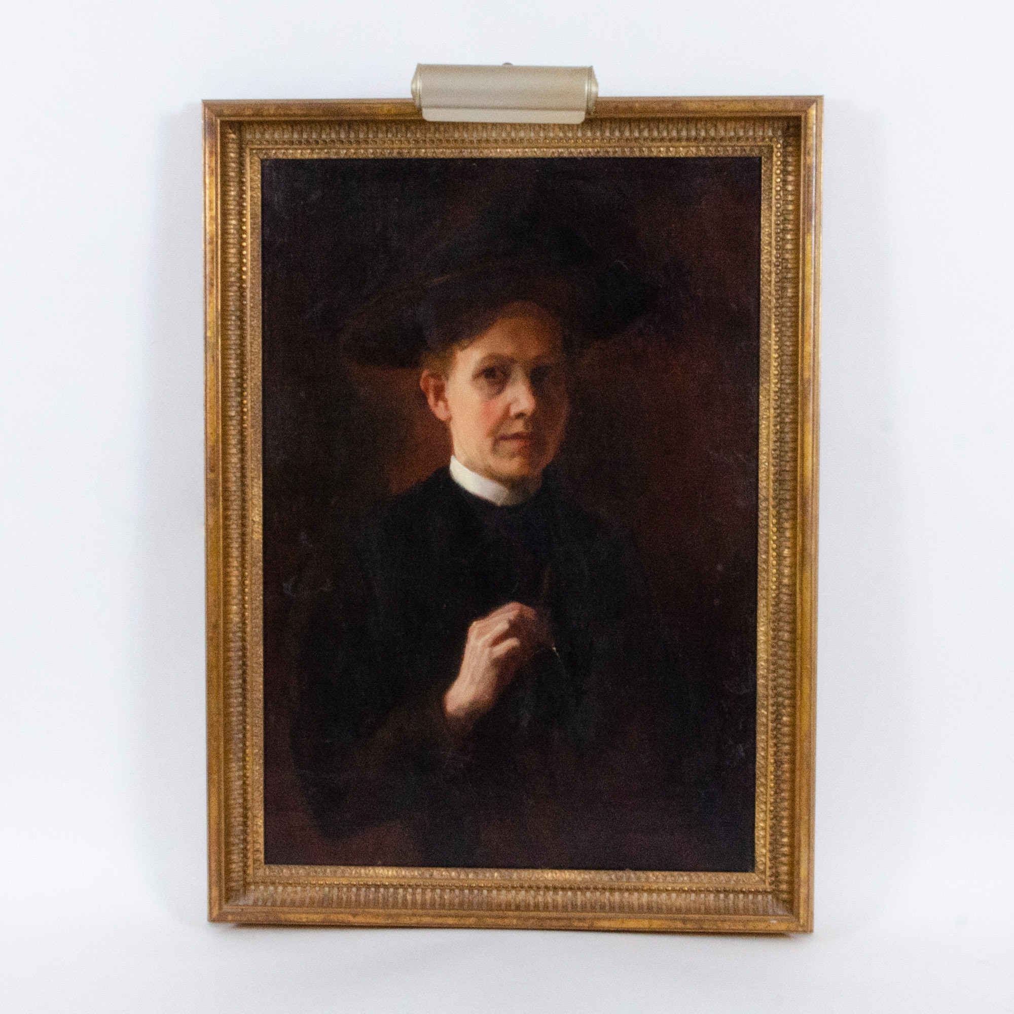Caroline Lord 19th Century Self Portrait Oil Painting