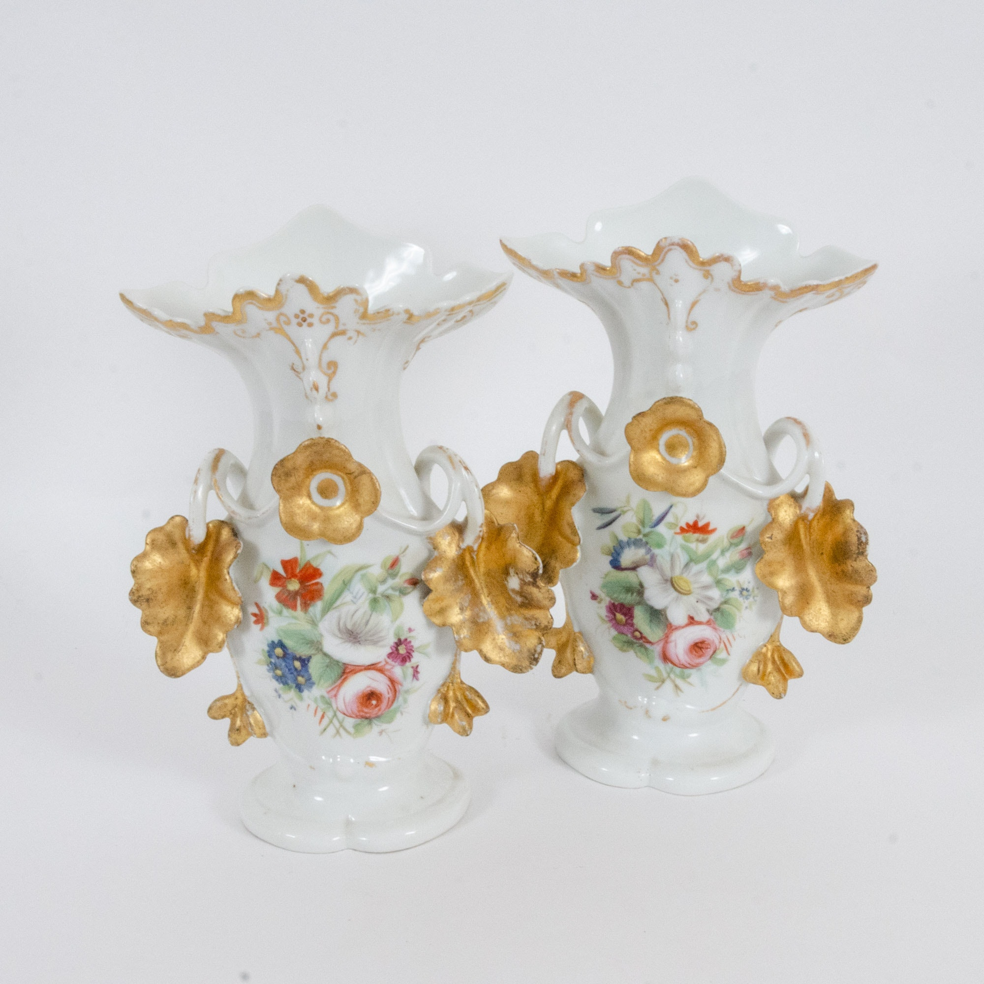 Gilt Porcelain Vases with Applied Flowers and Leaves