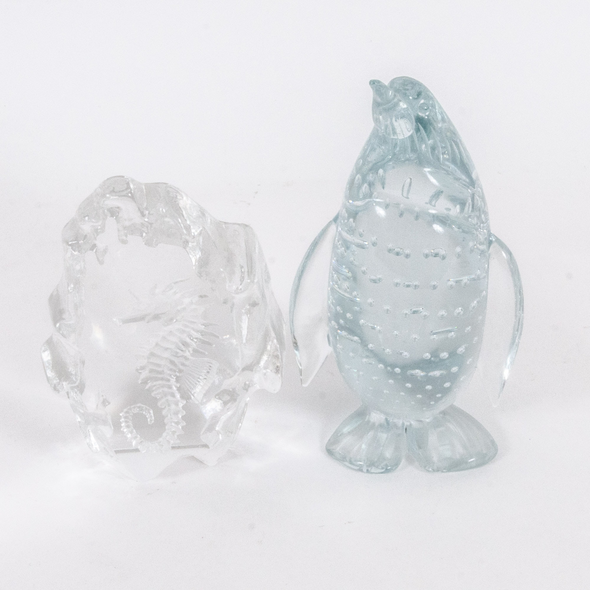Penguin and Seahorse Art Glass Figures