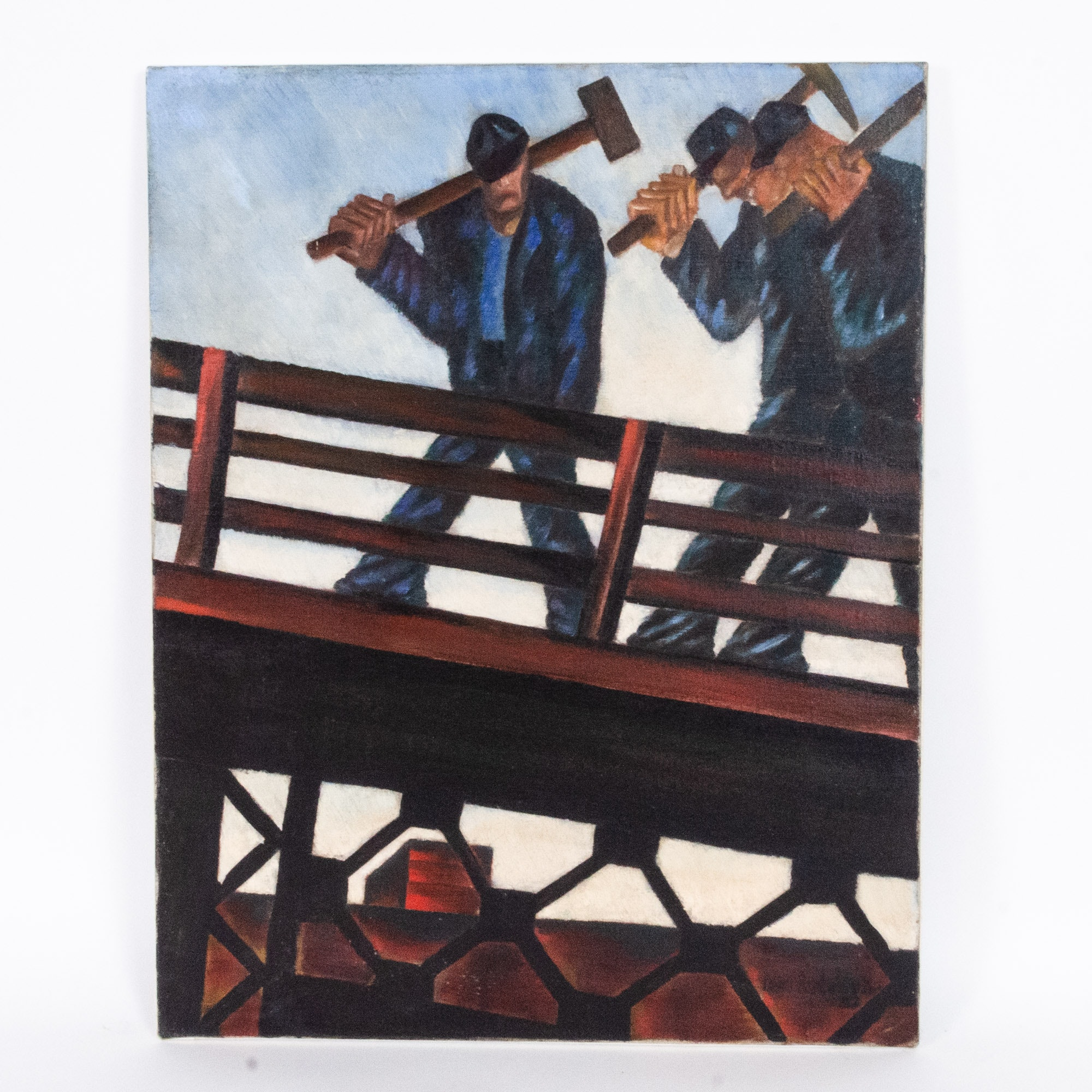 Savo Radulovich Oil Painting, Blue Collar Laborers