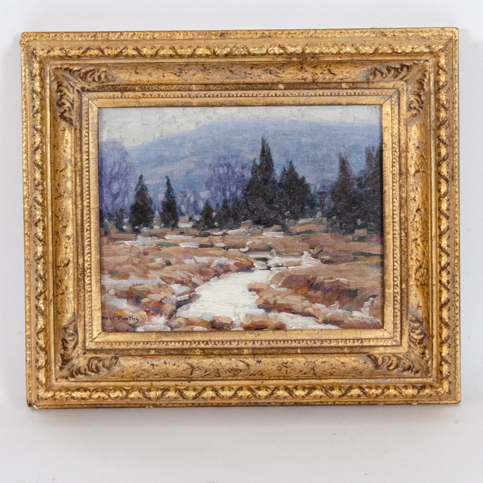 "John William Bentley Oil Painting ""Winter Stream"""