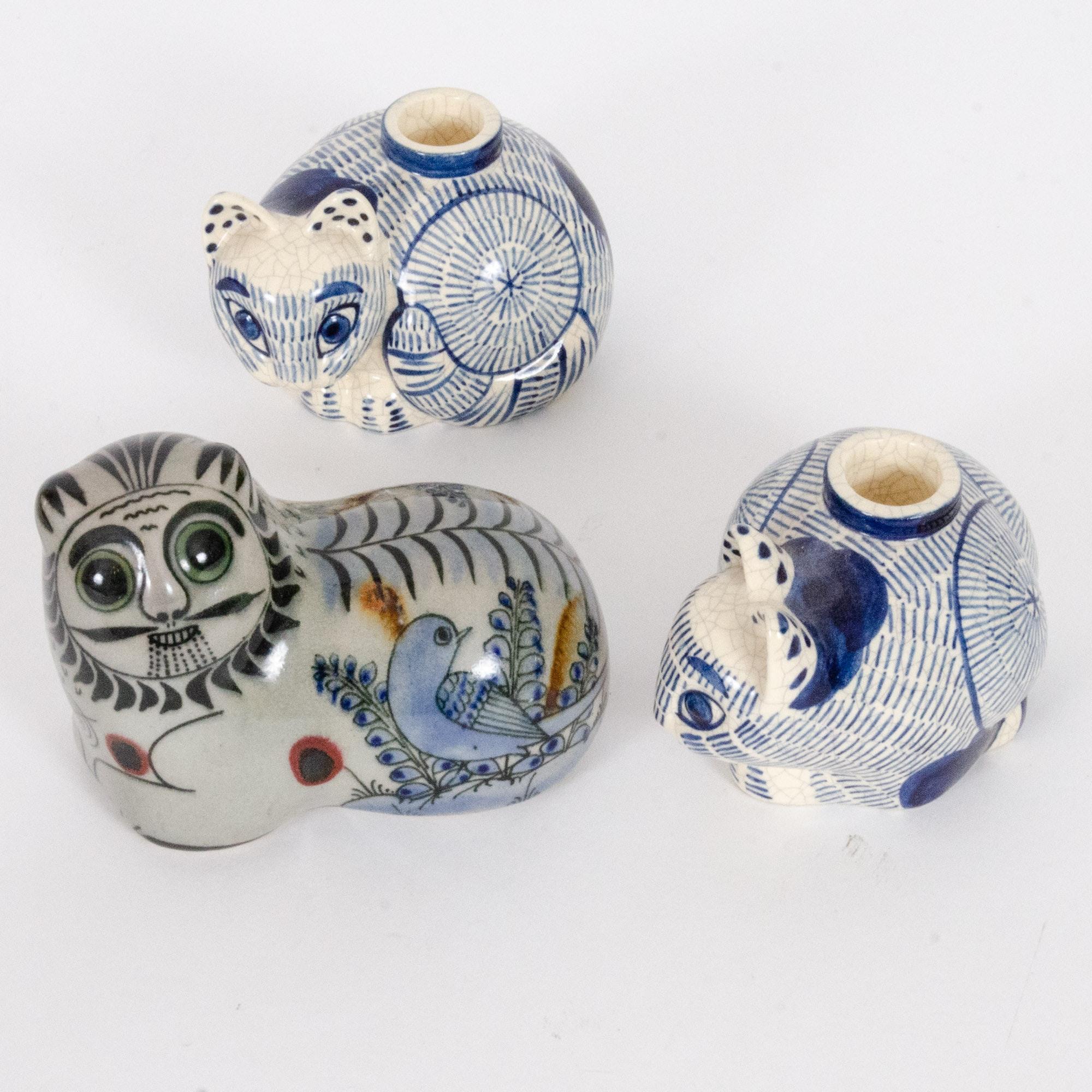 Mexican Tonala Folk Art Pottery Cat Figurine and Nancy Lopez Candleholders
