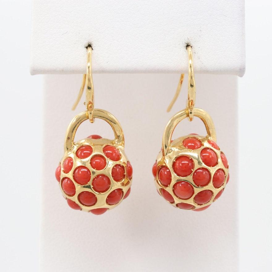 391cba02b Italian 18K Yellow Gold Coral Earrings : EBTH