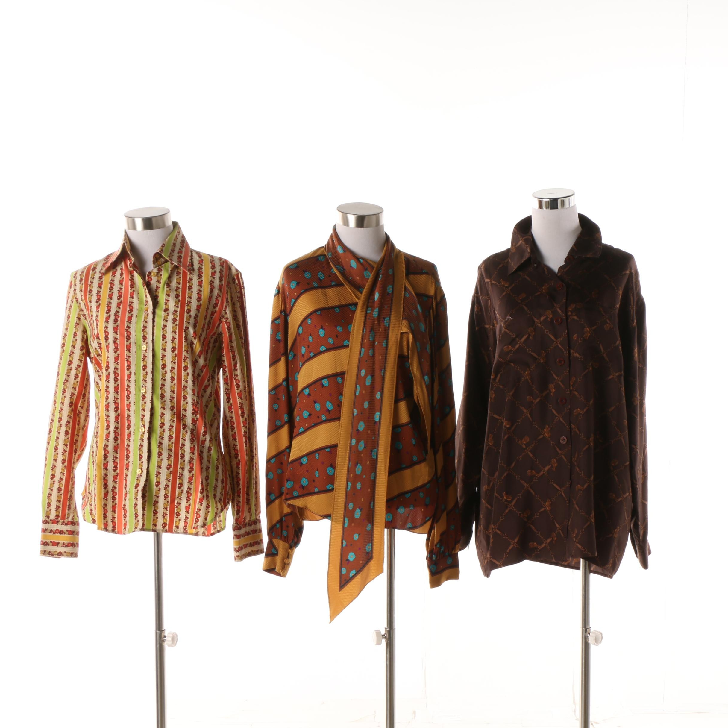 Circa Late 1980s Bob Mackie, Etro and St. John Sport Blouses