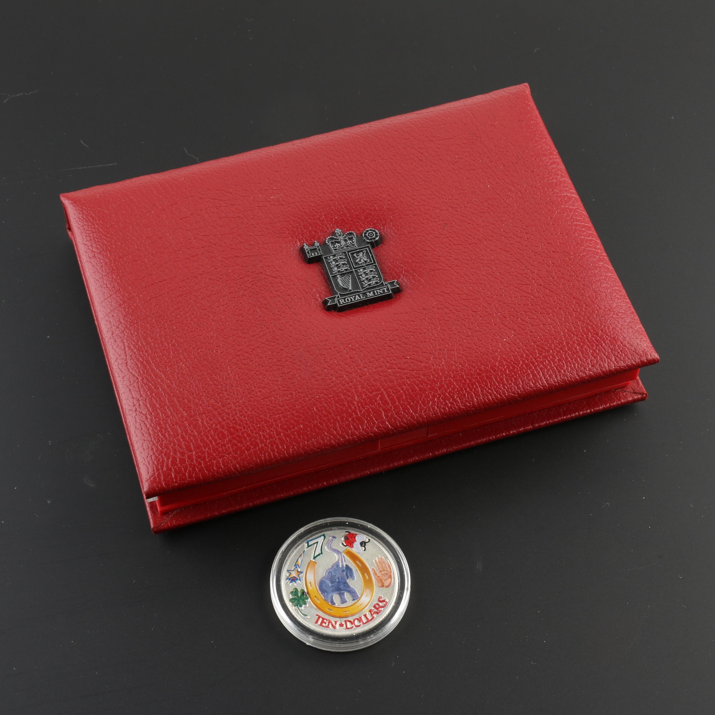 1996 United Kingdom Deluxe Proof Set and a 2000 Liberia Lucky $10 Coin