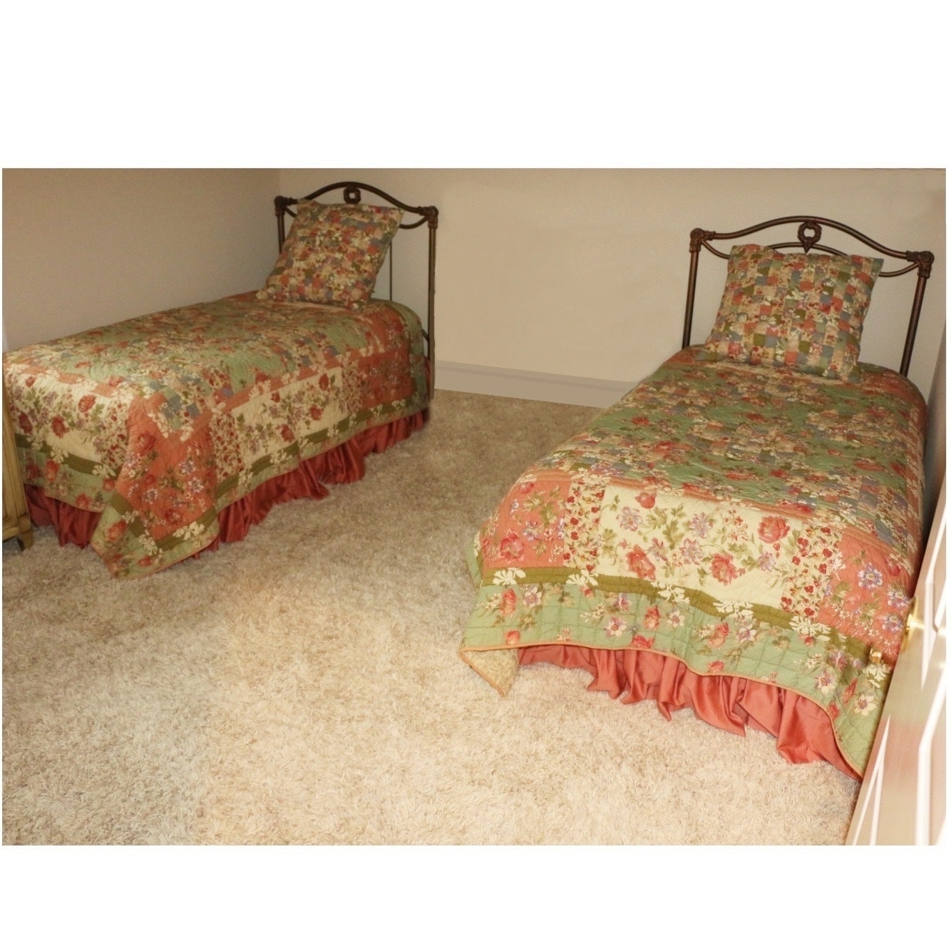 Twin Beds with Bedding Ensemble