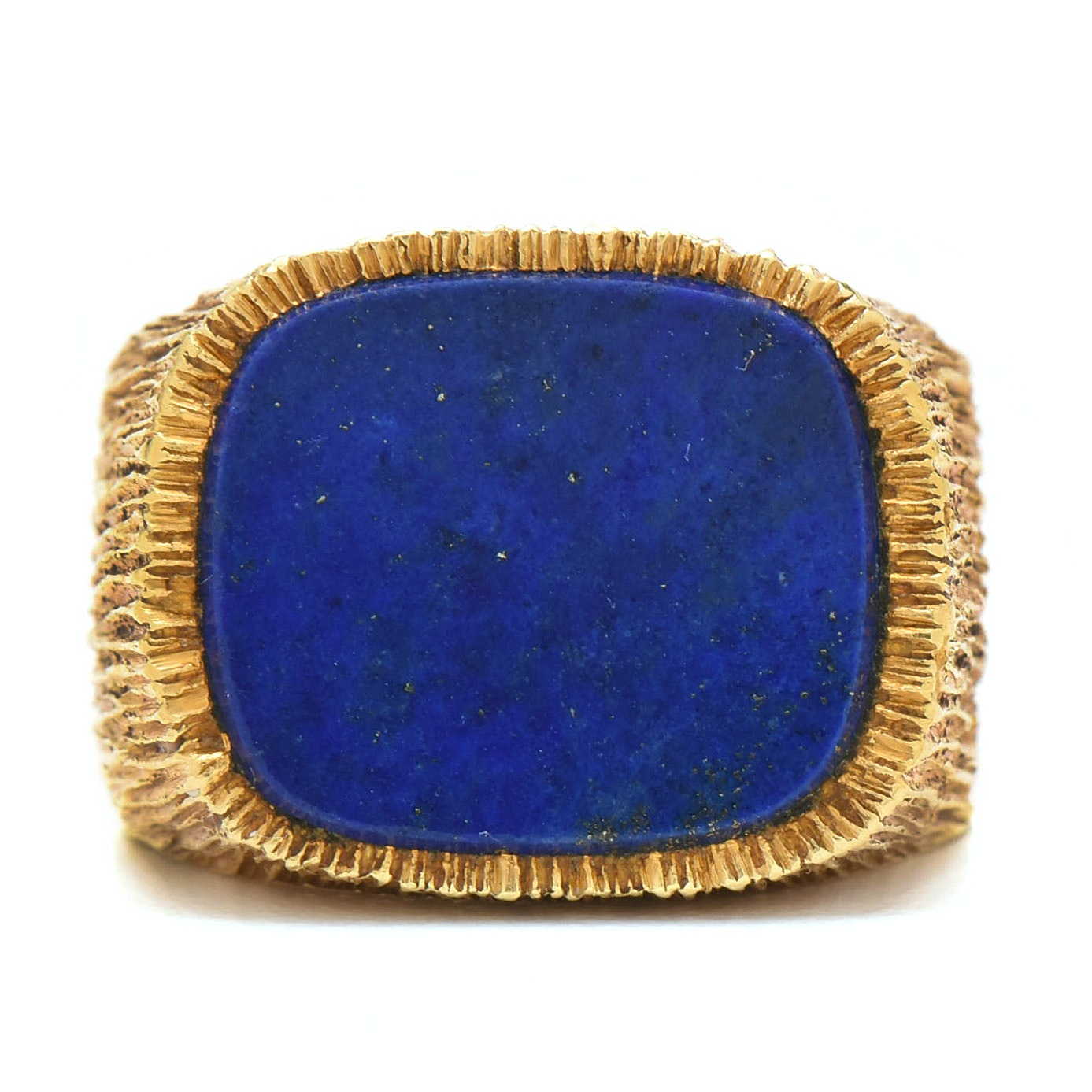 18K Yellow Gold Lapis Lazuli Brutalist Signet Ring