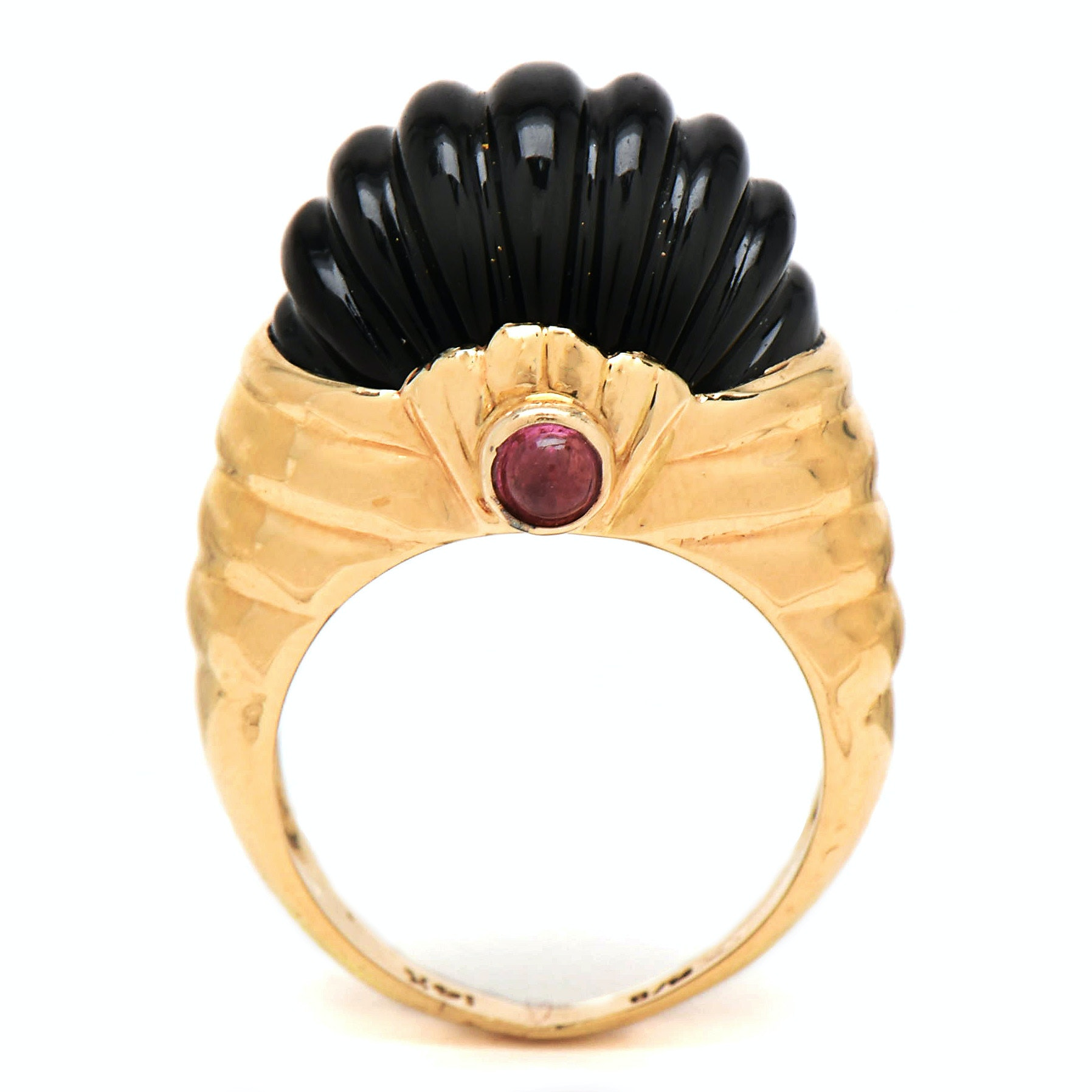 14K Yellow Gold Carved Black Onyx and Rhodolite Garnet Statement Ring