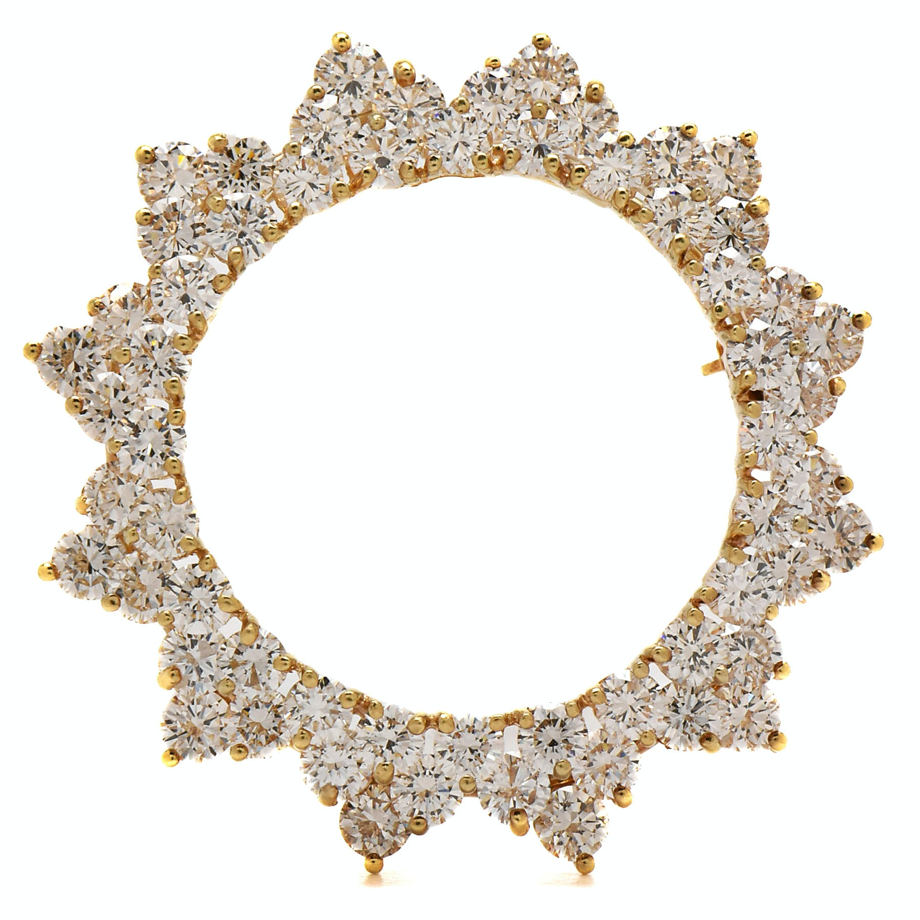 14K and 18K Yellow Gold 4.68 CTW Diamond Wreath Converter Brooch