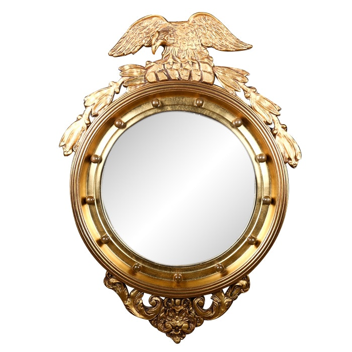 Federal Style Convex Mirror by Stroupe, 20th Century