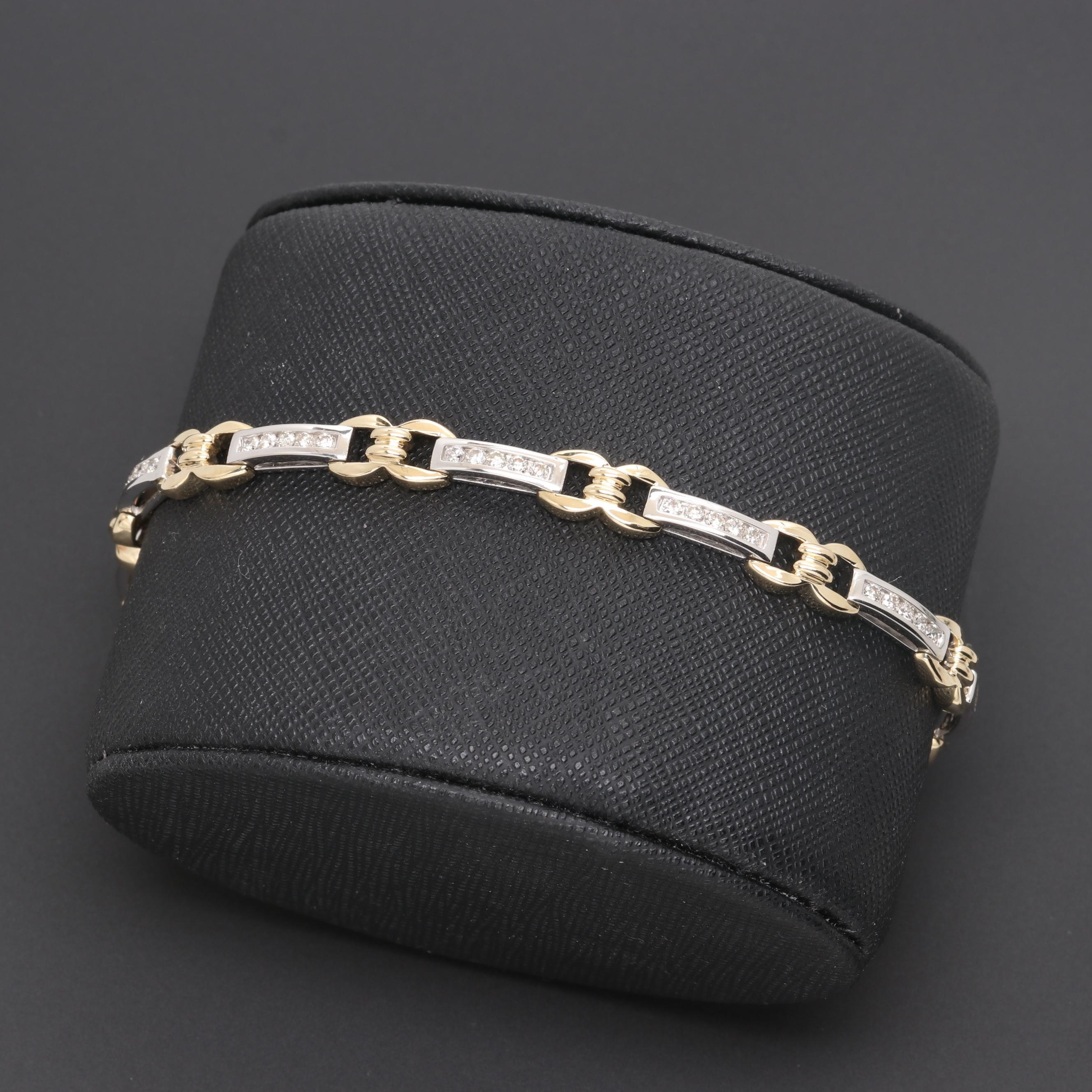 14K White and Yellow Gold 1.01 CTW Diamond Bracelet