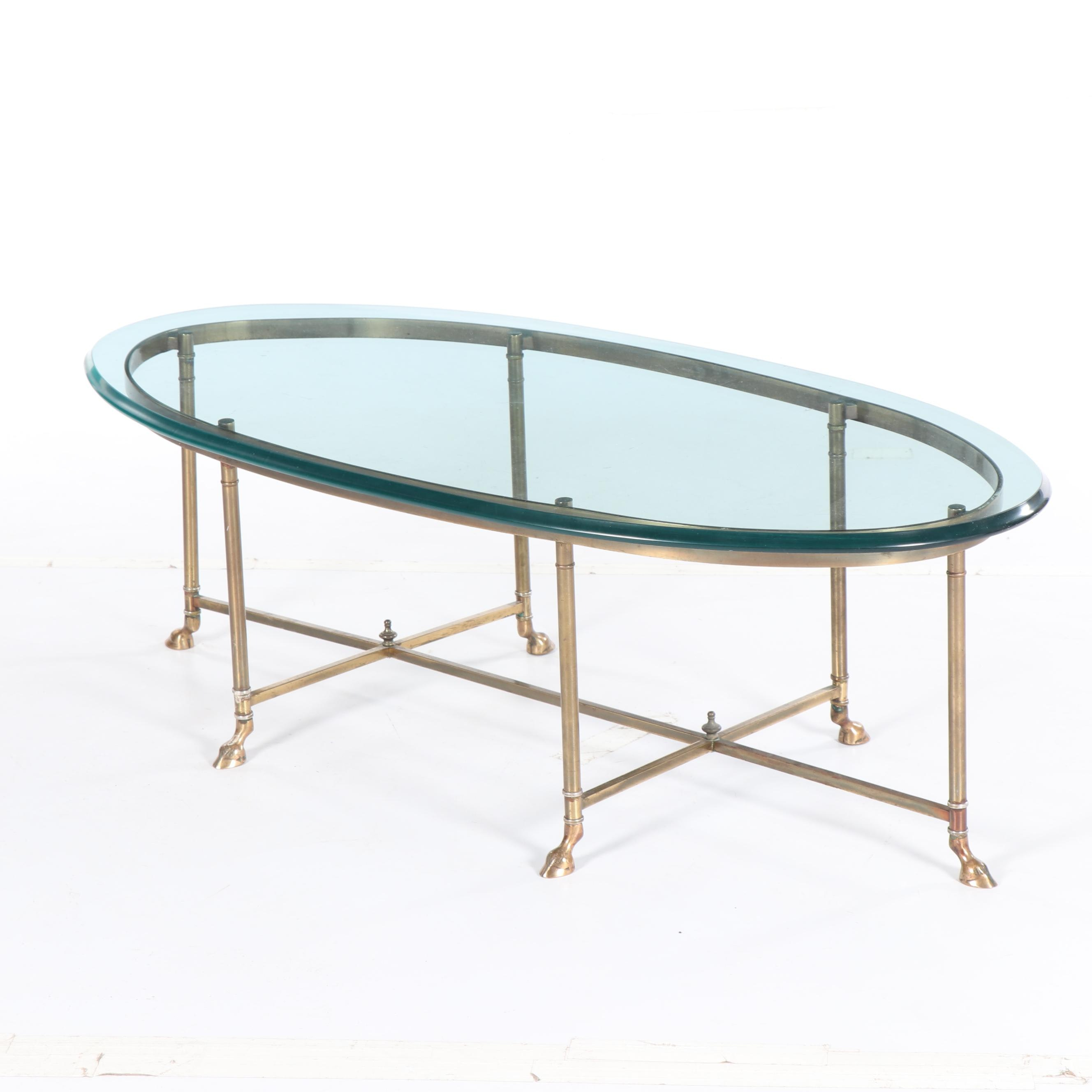 Hollywood Regency Style Brass and Glass Oval Coffee Table, Mid 20th Century