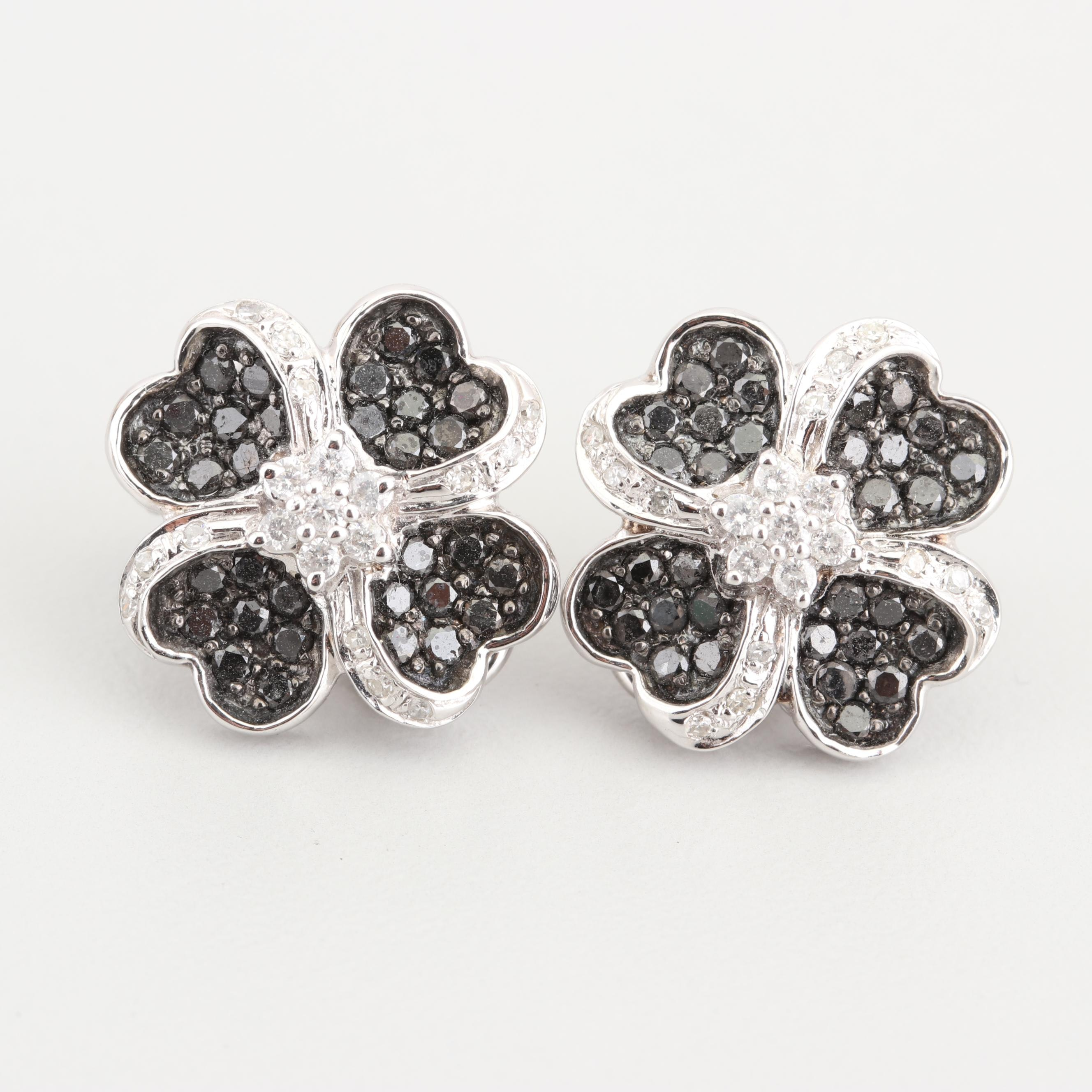 14K White Gold 0.95 CTW Black Diamond and Diamond Earrings