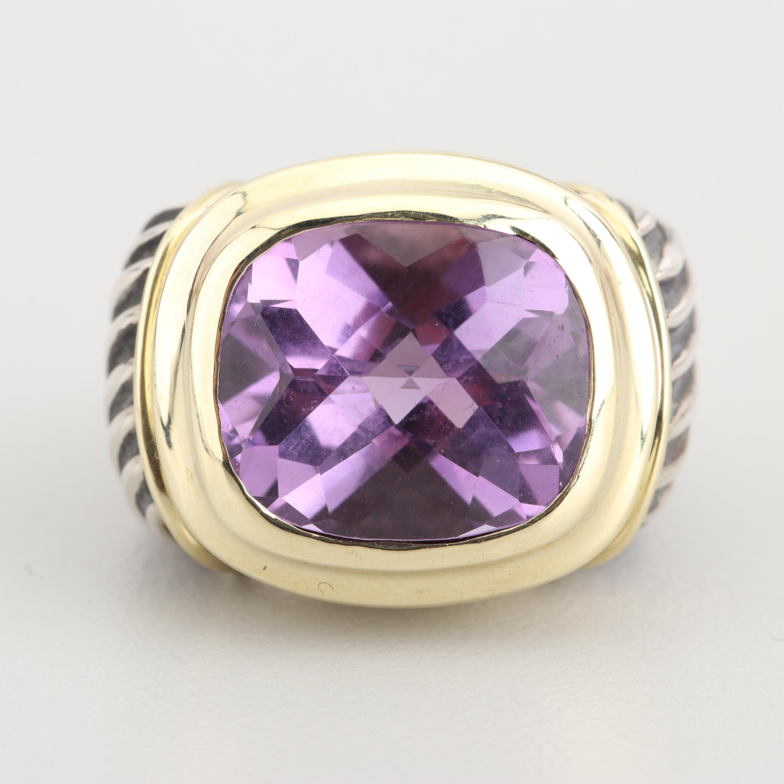 David Yurman Sterling Silver 14K Gold Accented 7.25 CT Amethyst Ring