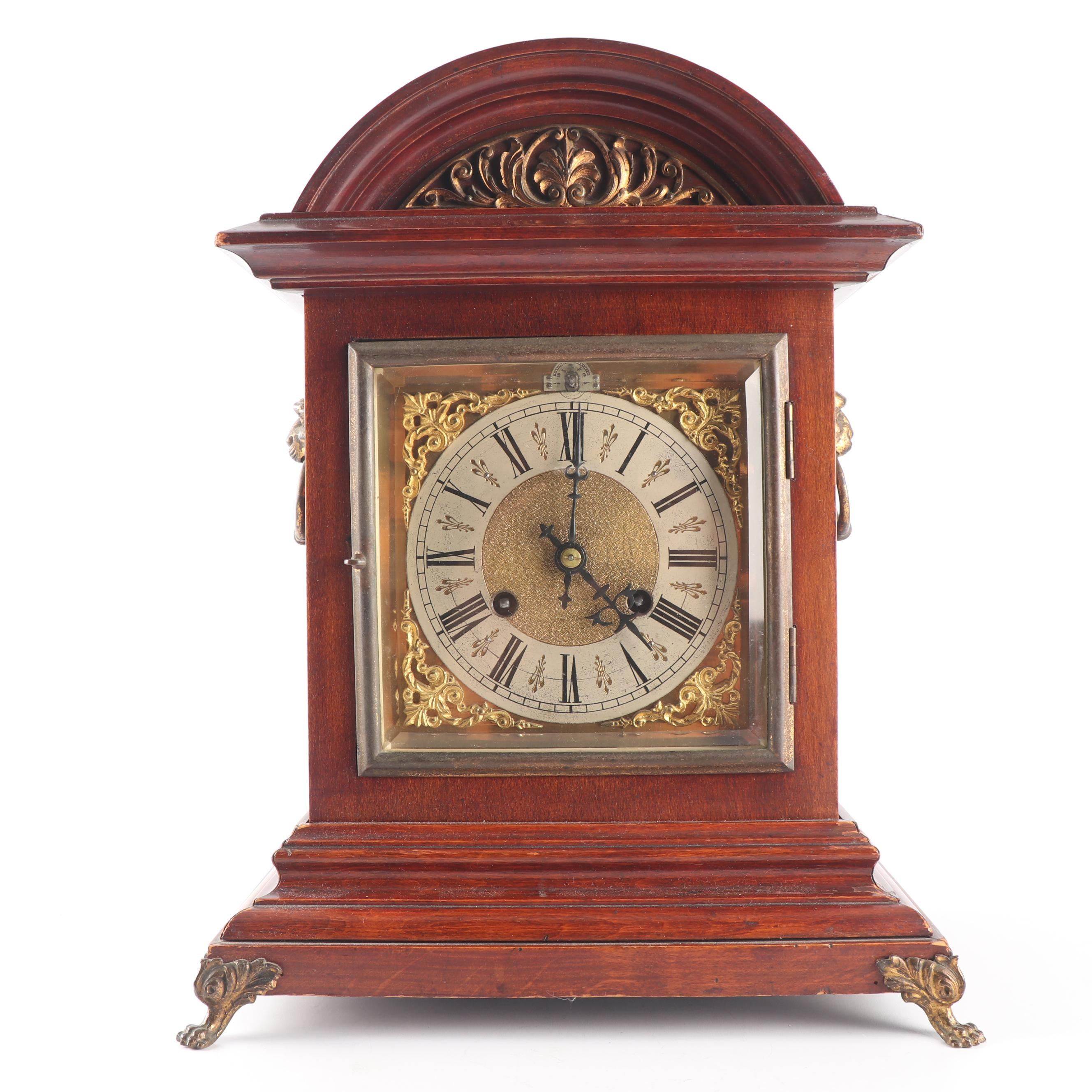 Late Victorian Birch Striking Mantel Clock, Late 19th Century