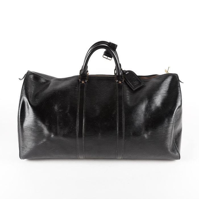 1992 Louis Vuitton Paris Black Epi Leather Keepall 45