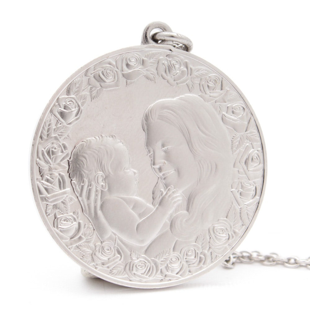 Sterling Silver 1975 Mother's Day Pendant and Chain