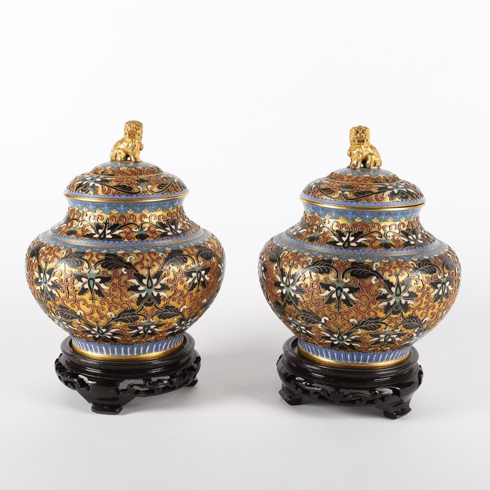 Chinese Cloisonné and Champlevé Lidded Urns with Guardian Lion Finials