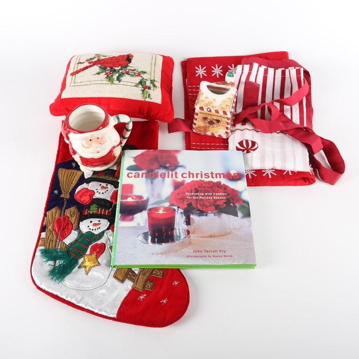 "Christmas Textile and Table Decor with ""Candlelit Christmas"" Book"