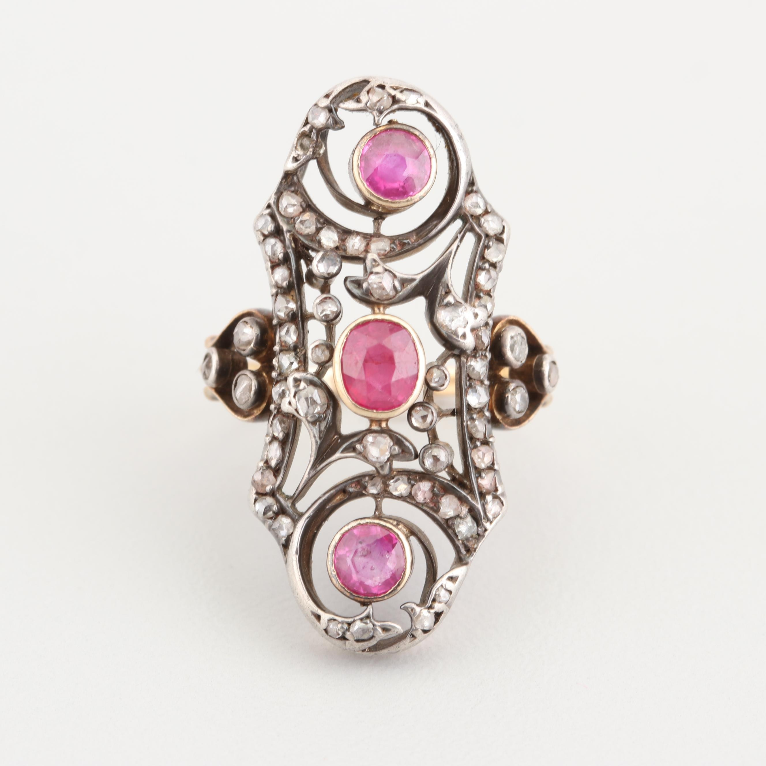 Edwardian Silver Topped 14K Yellow Gold Ruby and Diamond Ring