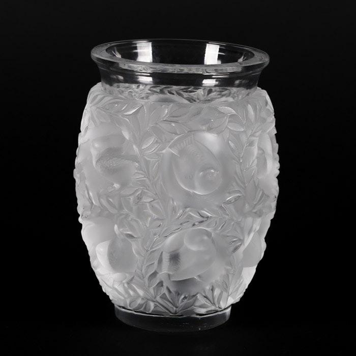 """Lalique Frosted Crystal """"Bagatelle"""" Flower Vase"""
