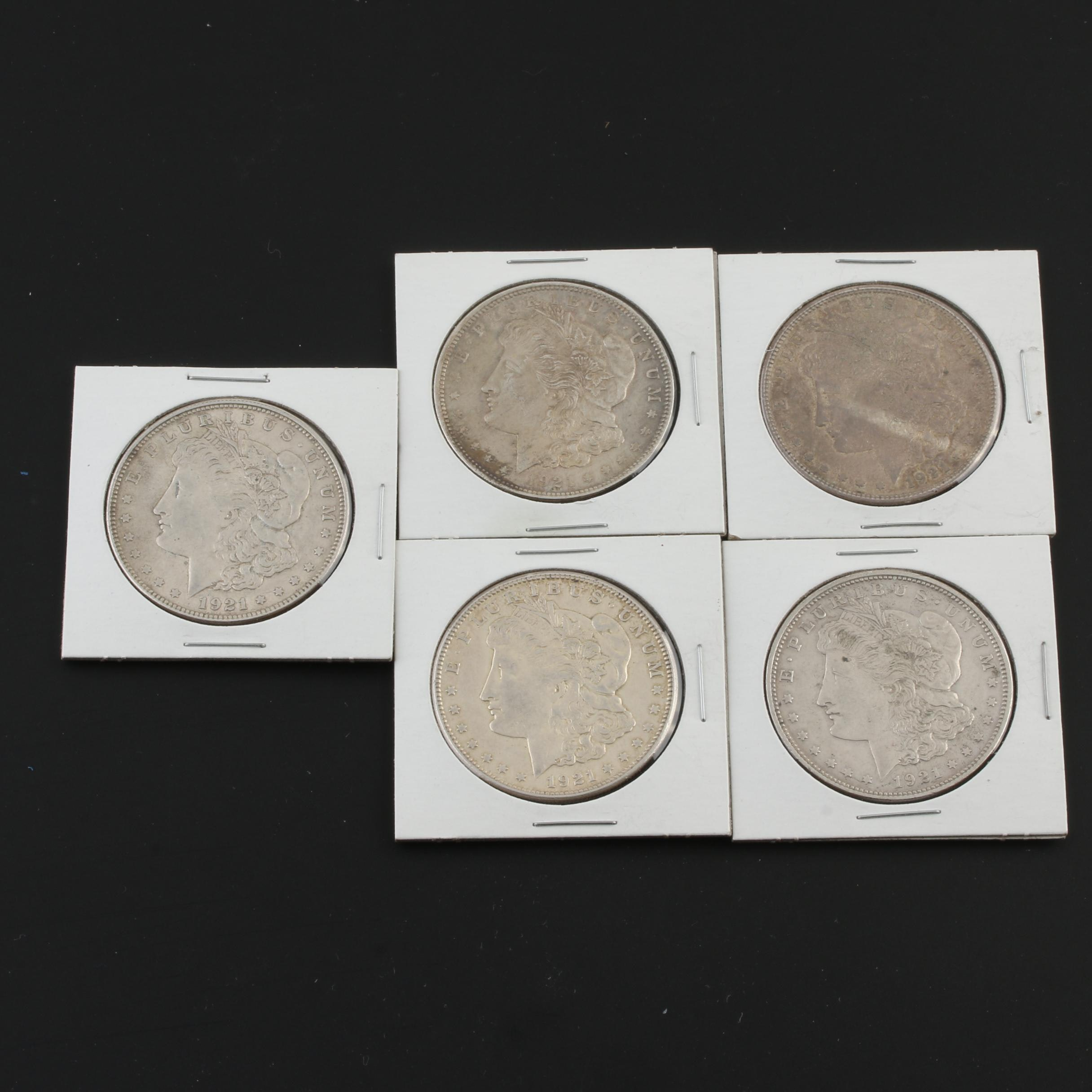 Five Morgan Silver Dollars From 1921