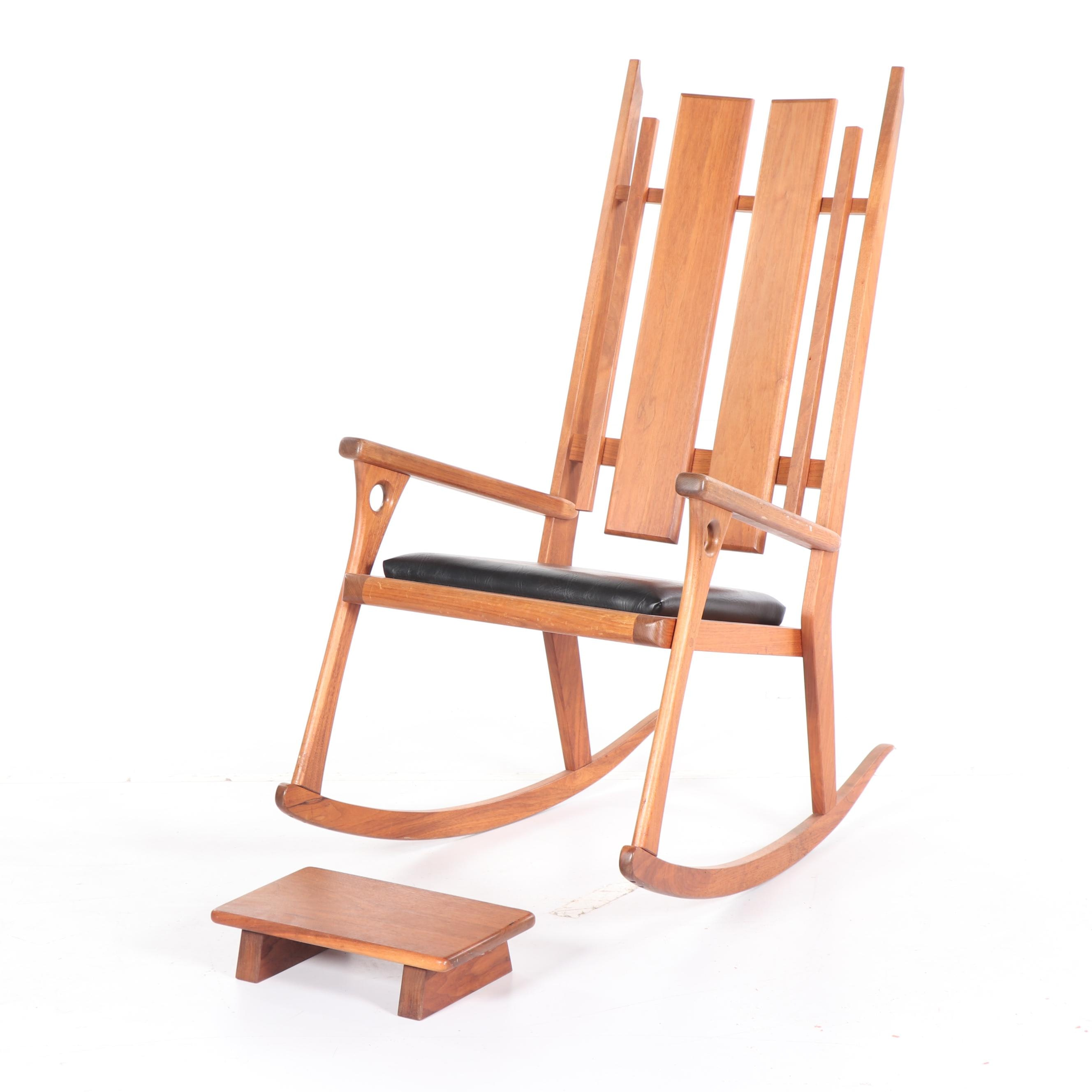 Contemporary Teak Rocking Chair and Footstool by Jeff Easley