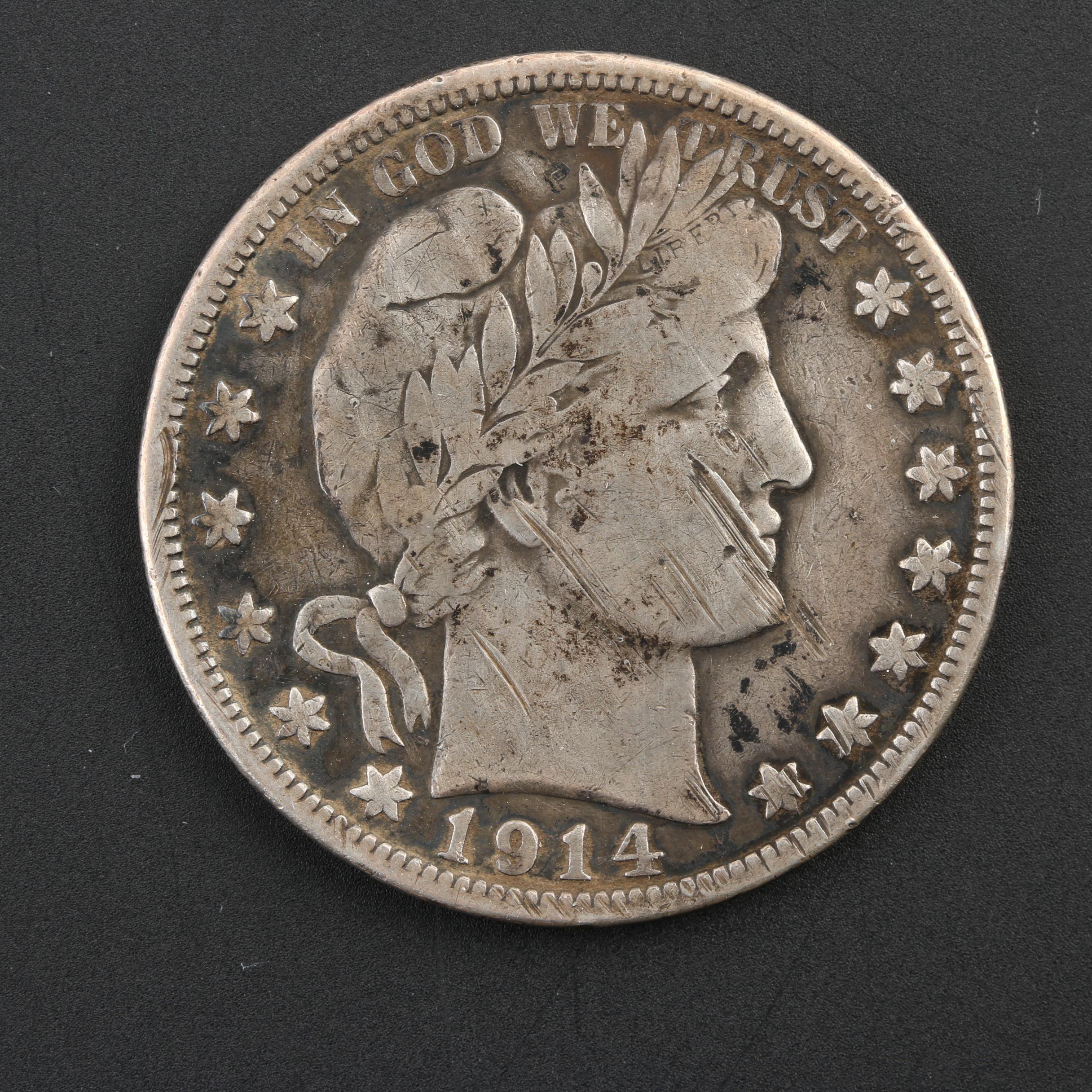 Key Date 1914 Silver Barber Half Dollar