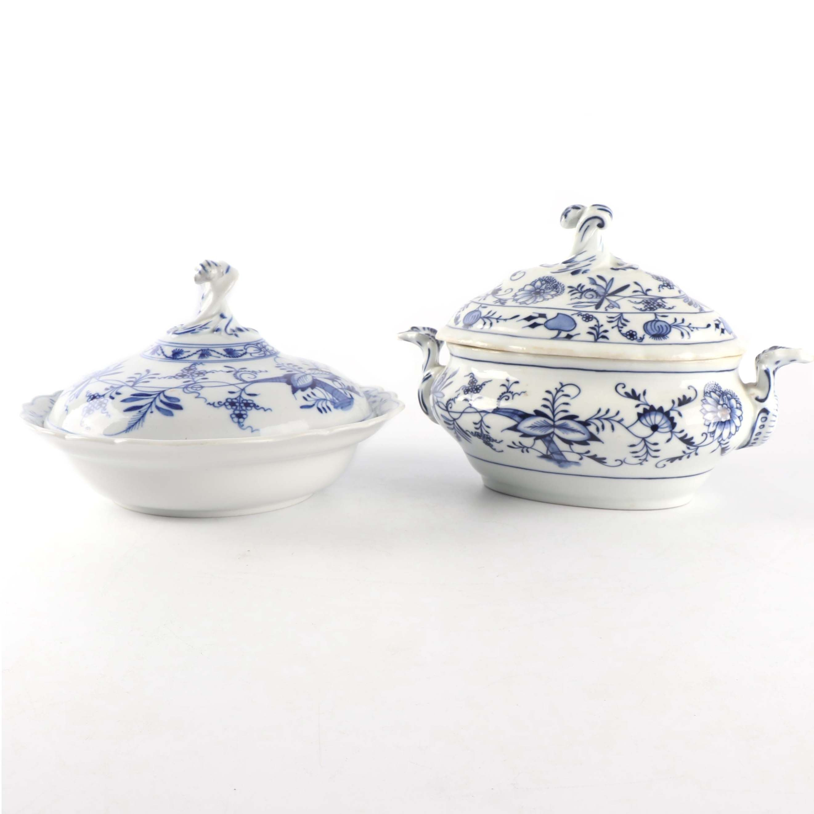 Meissen Porcelain Covered Vegetable Dish and Covered Soup Tureen