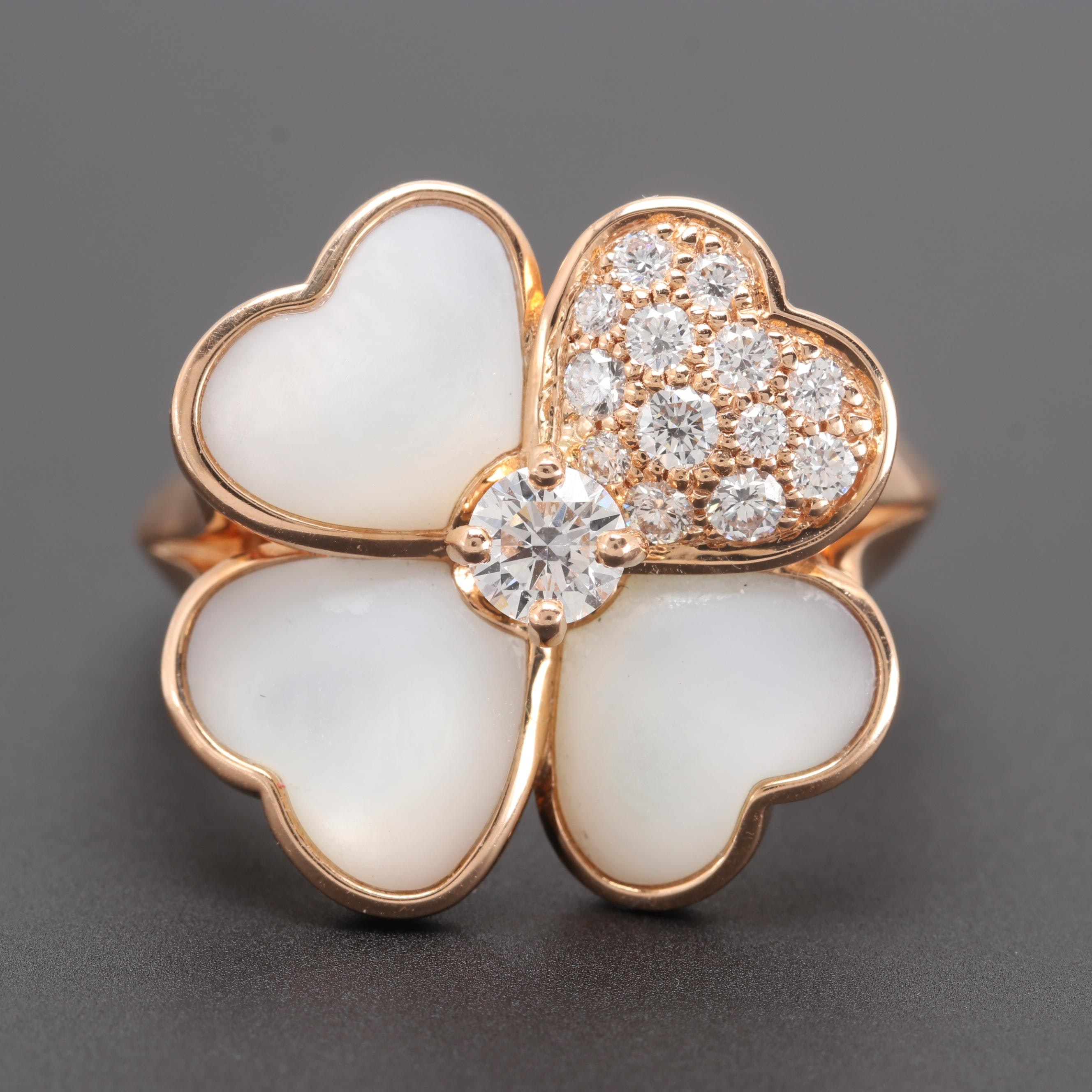 """Van Cleef & Arpels 18K Rose Gold Diamond and Mother of Pearl """"Cosmos"""" Ring"""