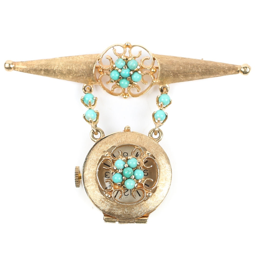 14K Yellow Gold Geneva Watch Pin with Turquoise Accents