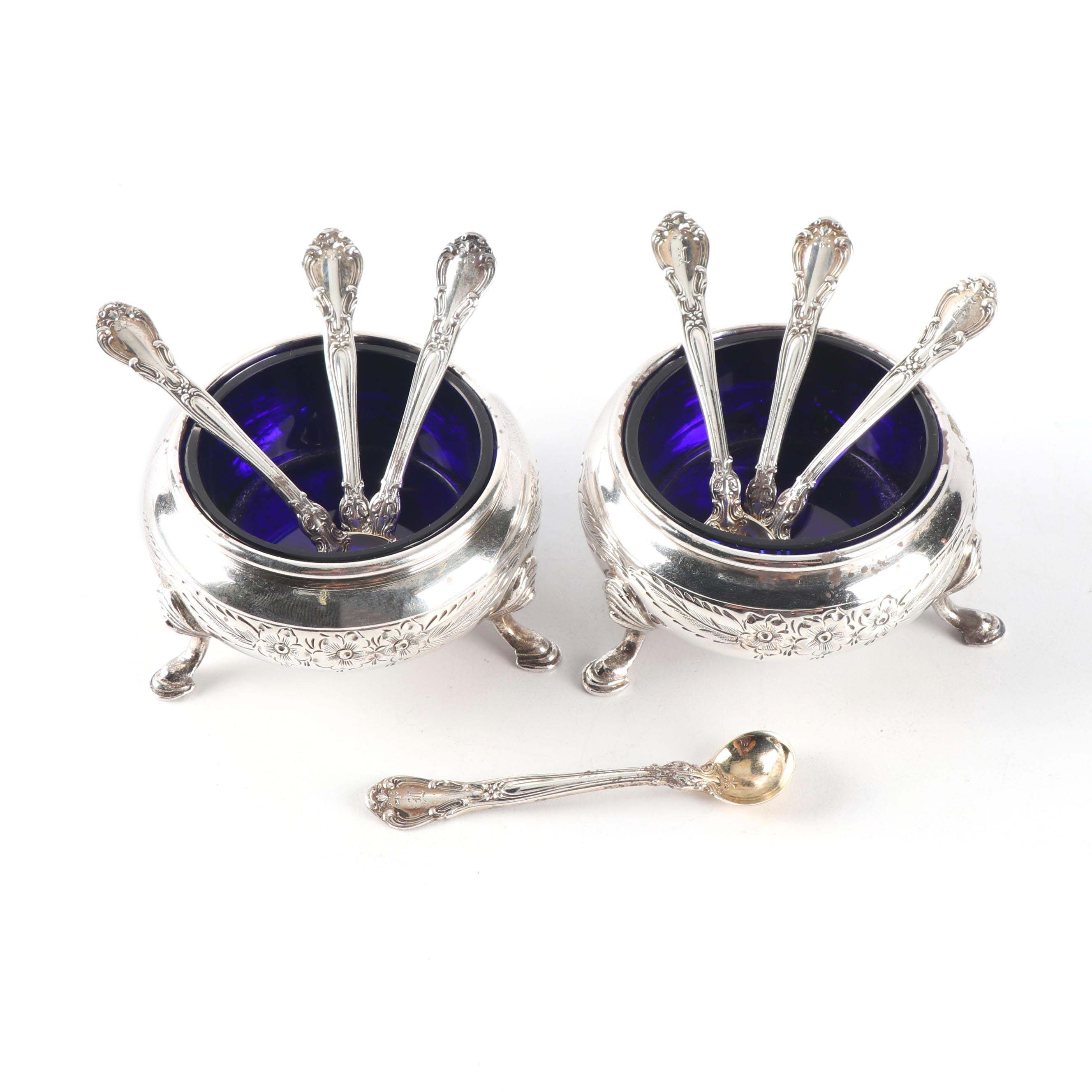 Pair of American Silver Salt Cellars and Seven Gorham Silver Salt Spoons