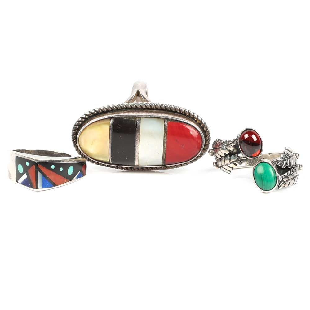 Collection of Sterling Silver Gemstone Rings Featuring Burton Kelly Navajo Diné