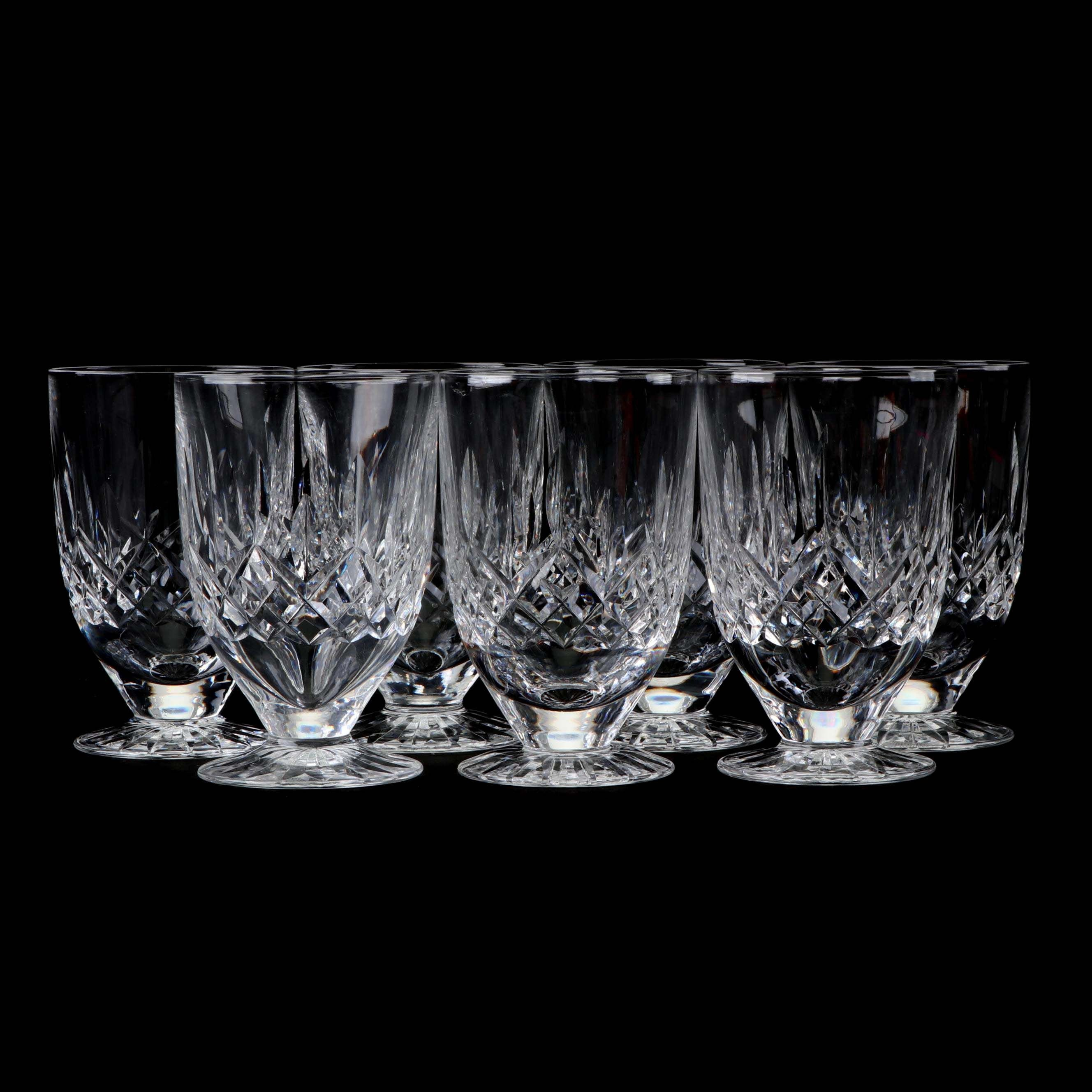 "Waterford ""Lismore"" Leaded Glass Footed Water Glasses"