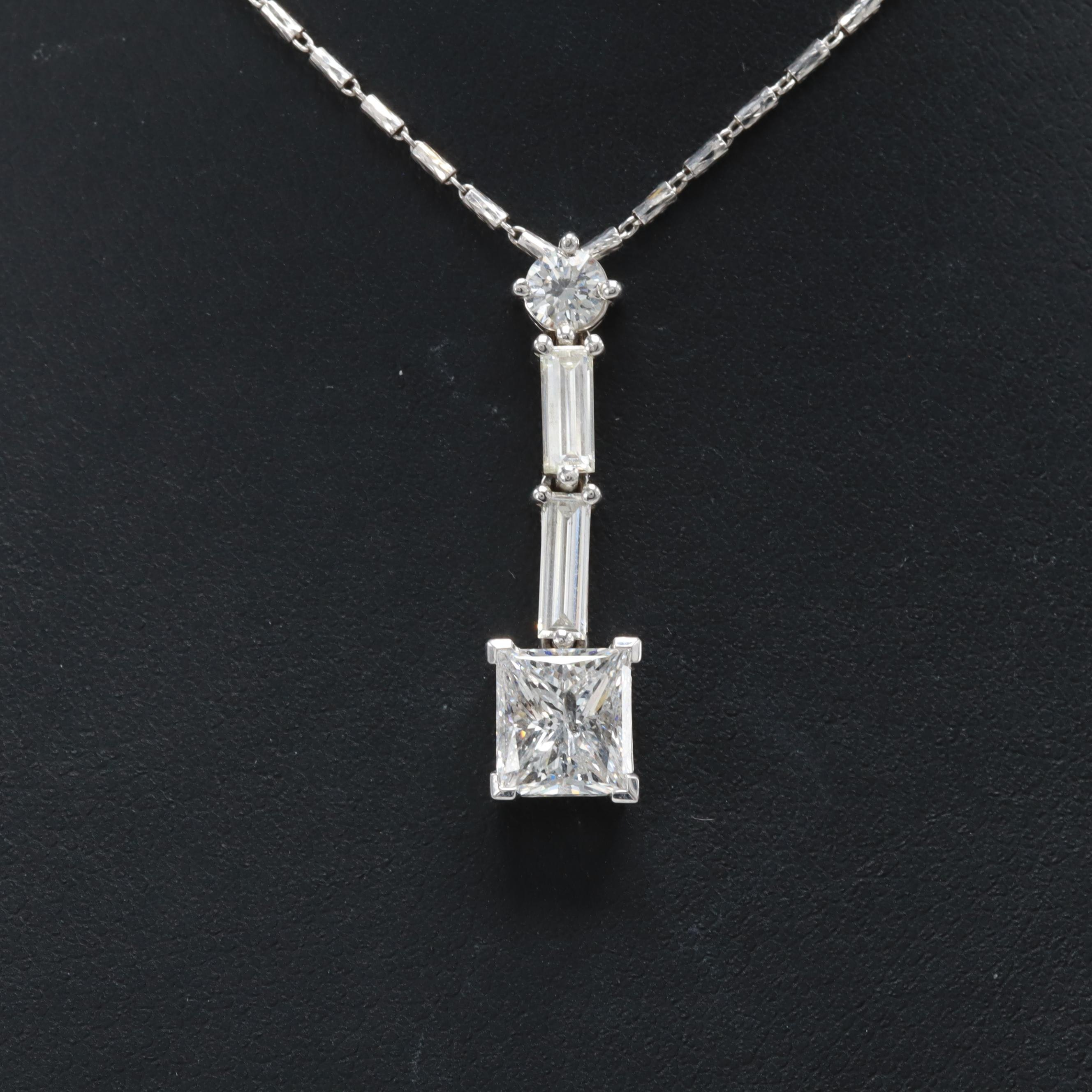18K and 14K White Gold 2.53 CTW Diamond Necklace