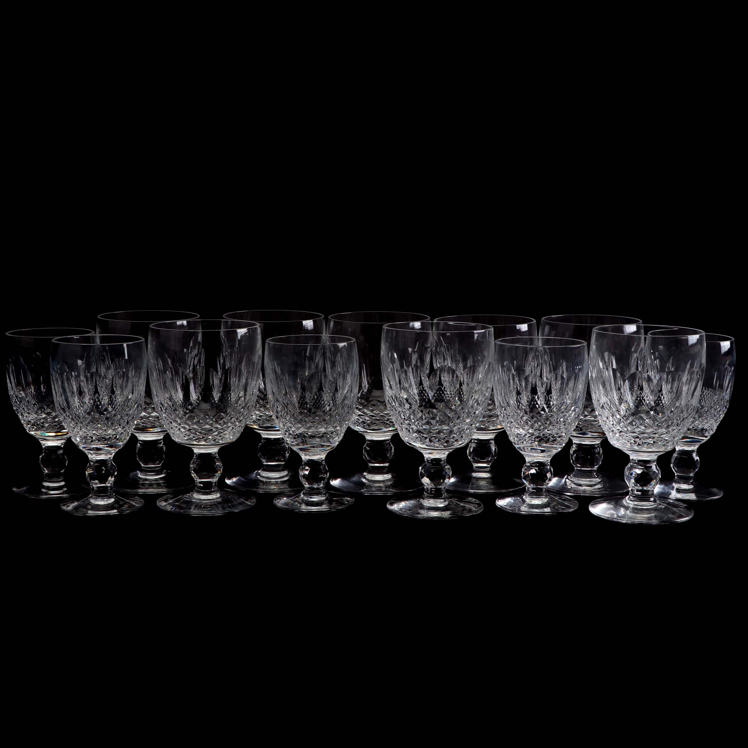 Waterford 'Colleen' Leaded Glass Short Stem Water and Red Wine Glasses