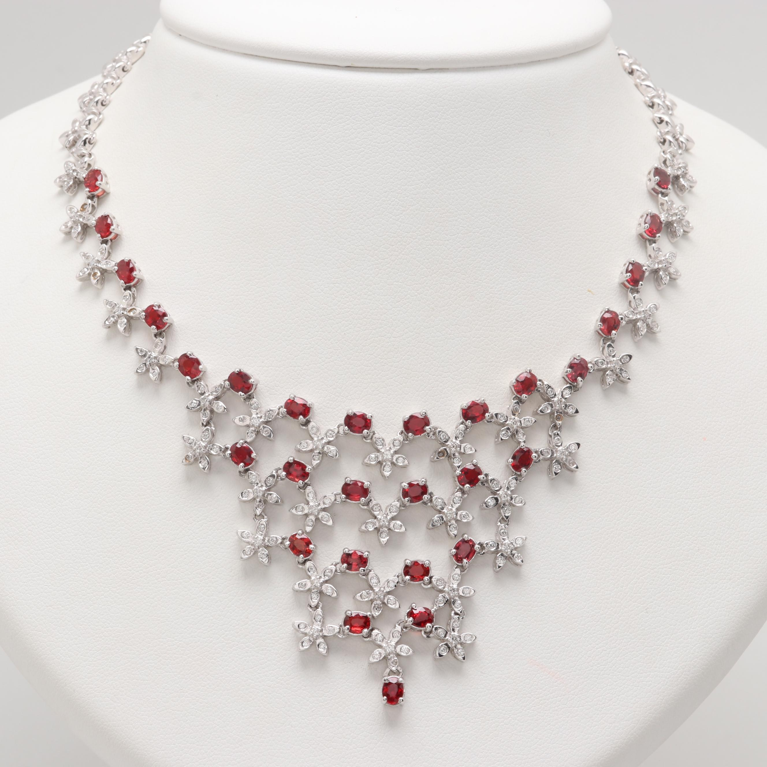 18K White Gold Ruby and 1.06 CTW Diamond Bib Necklace