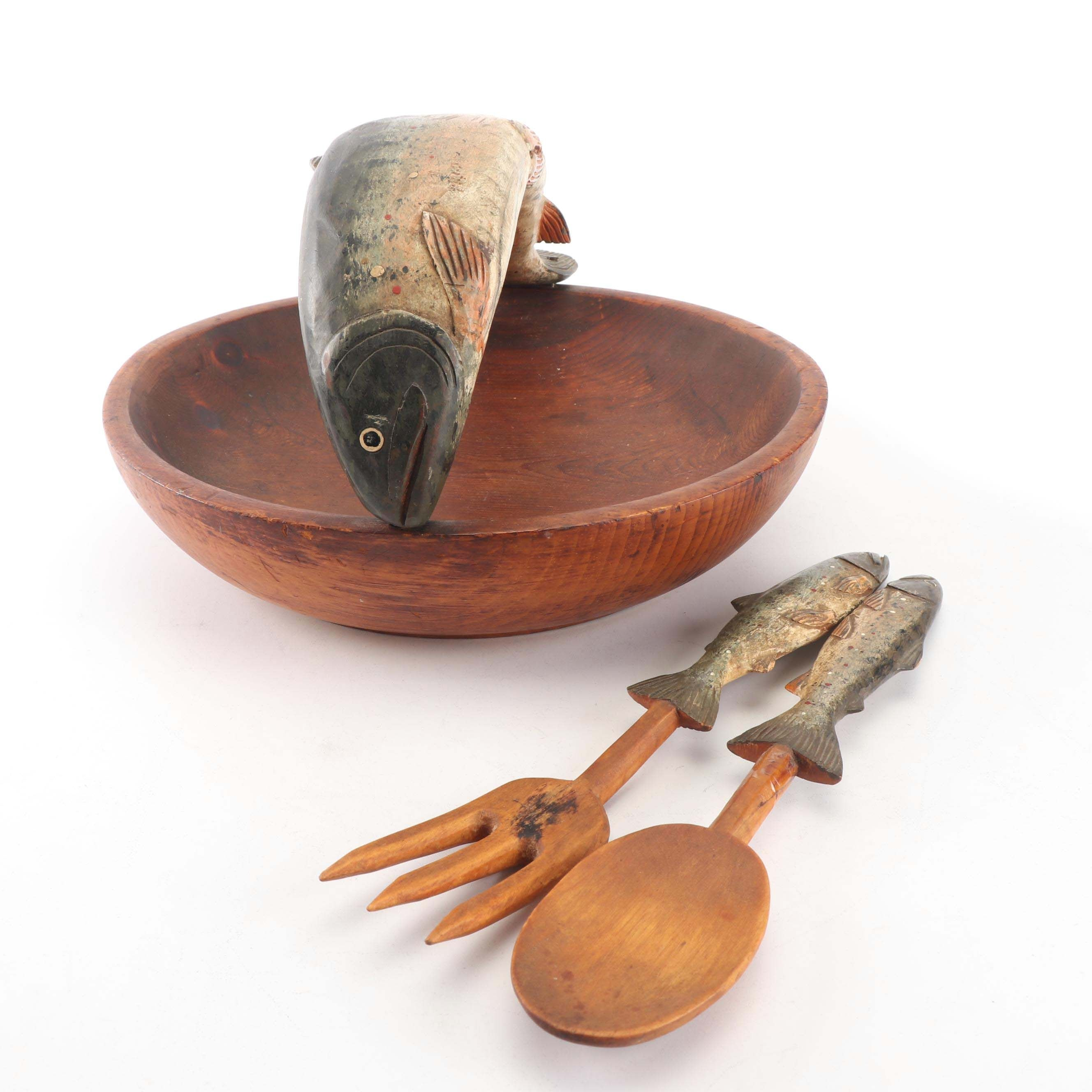 Folk Art Carved Salad Bowl and Utensils, Attributed to Lucien Bouchard c. 1960